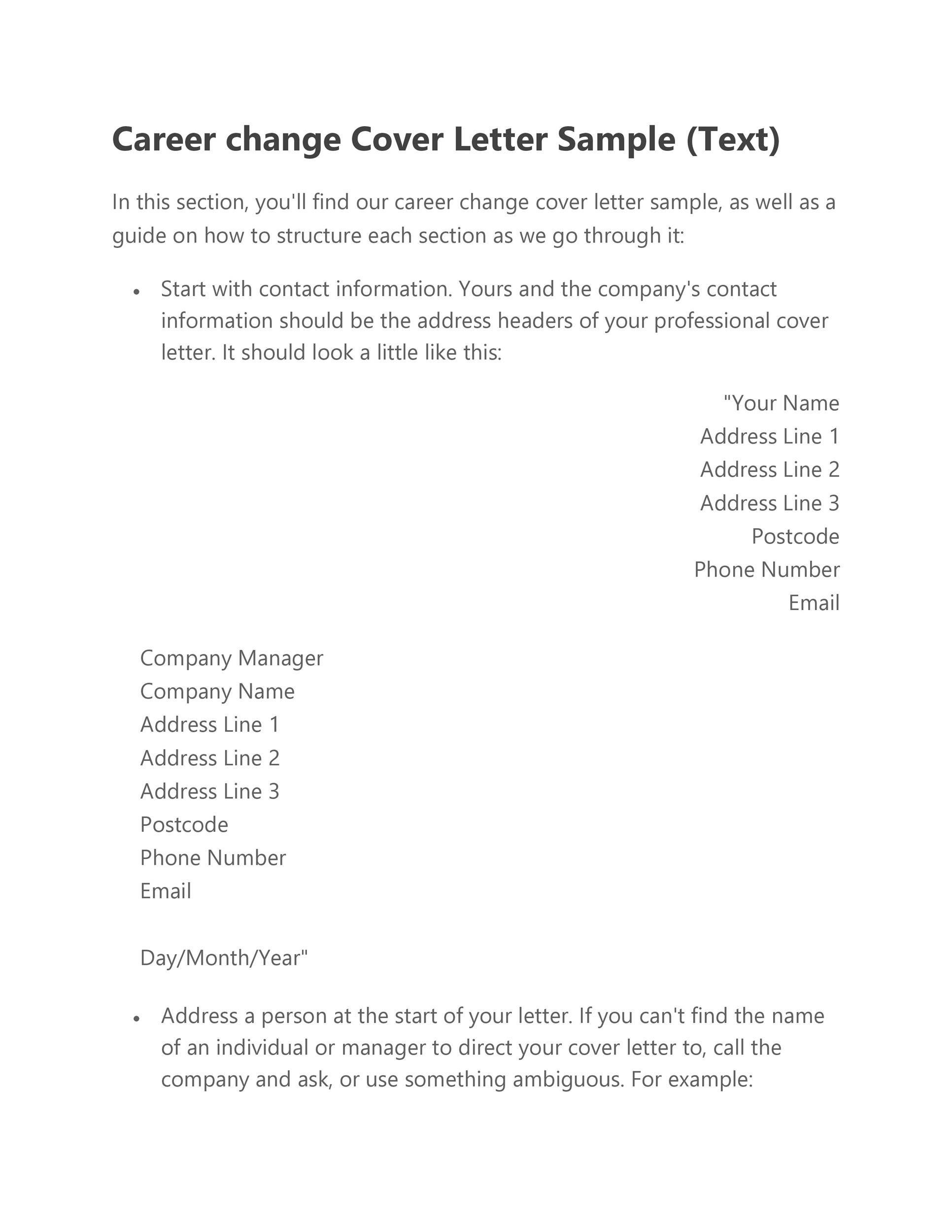 Free career change cover letter 16