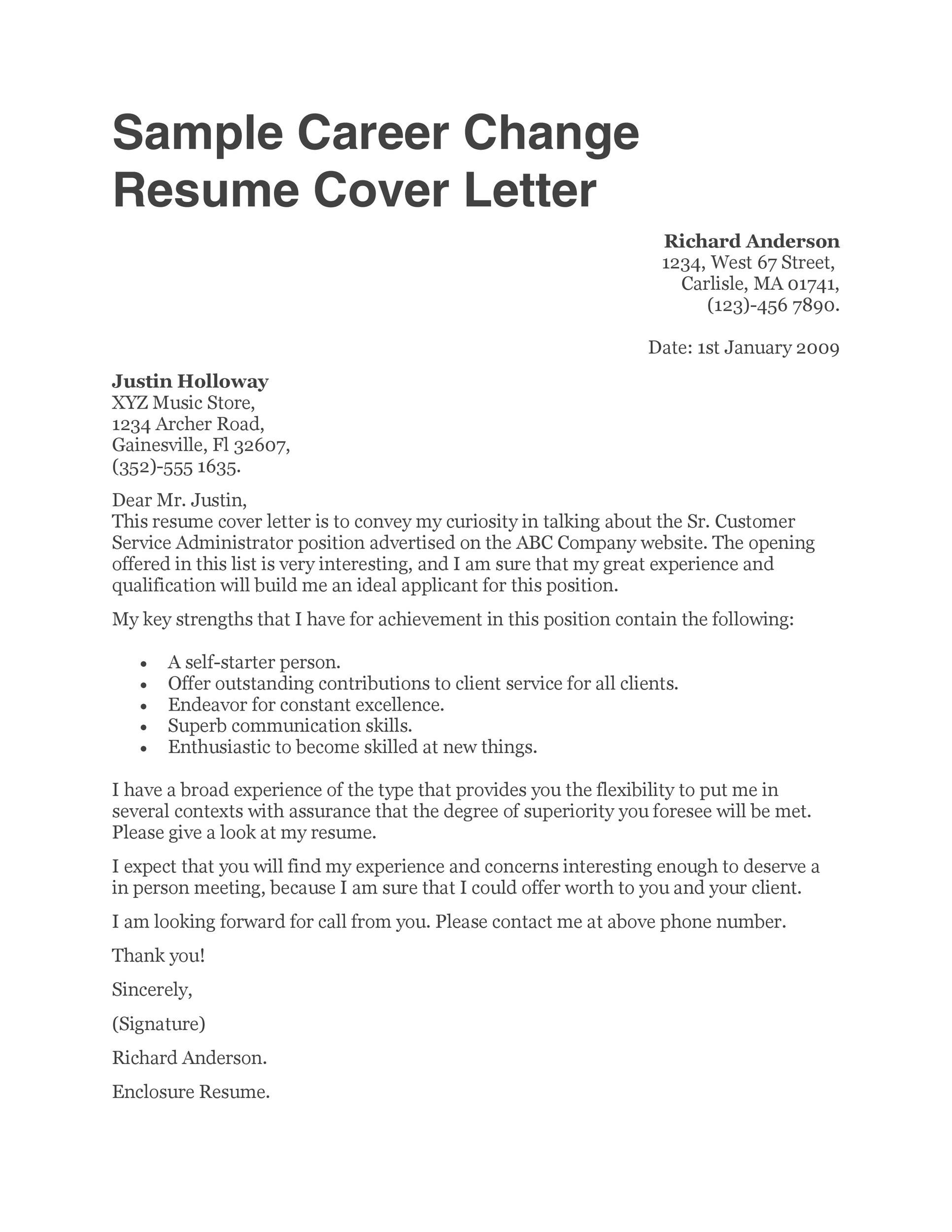 Free career change cover letter 18
