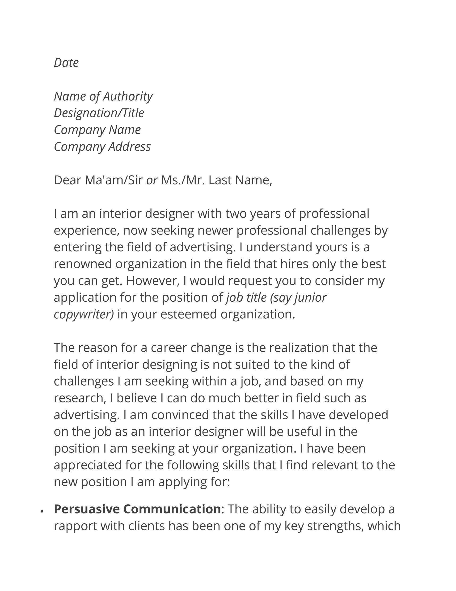 Change Of Career Covering Letter from templatelab.com