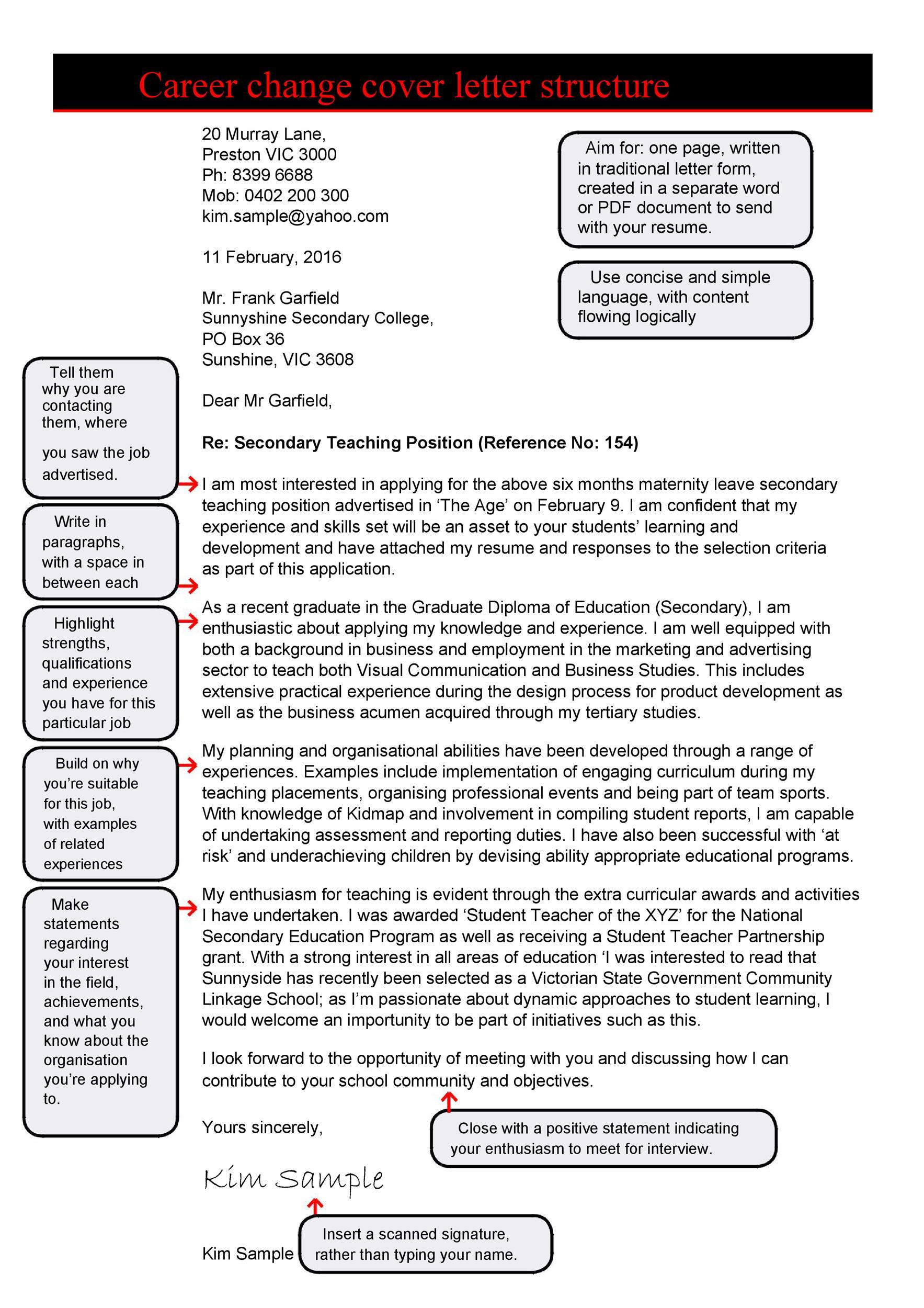 Career Change Cover Letter Pdf.39 Professional Career Change Cover Letters ᐅ Template Lab