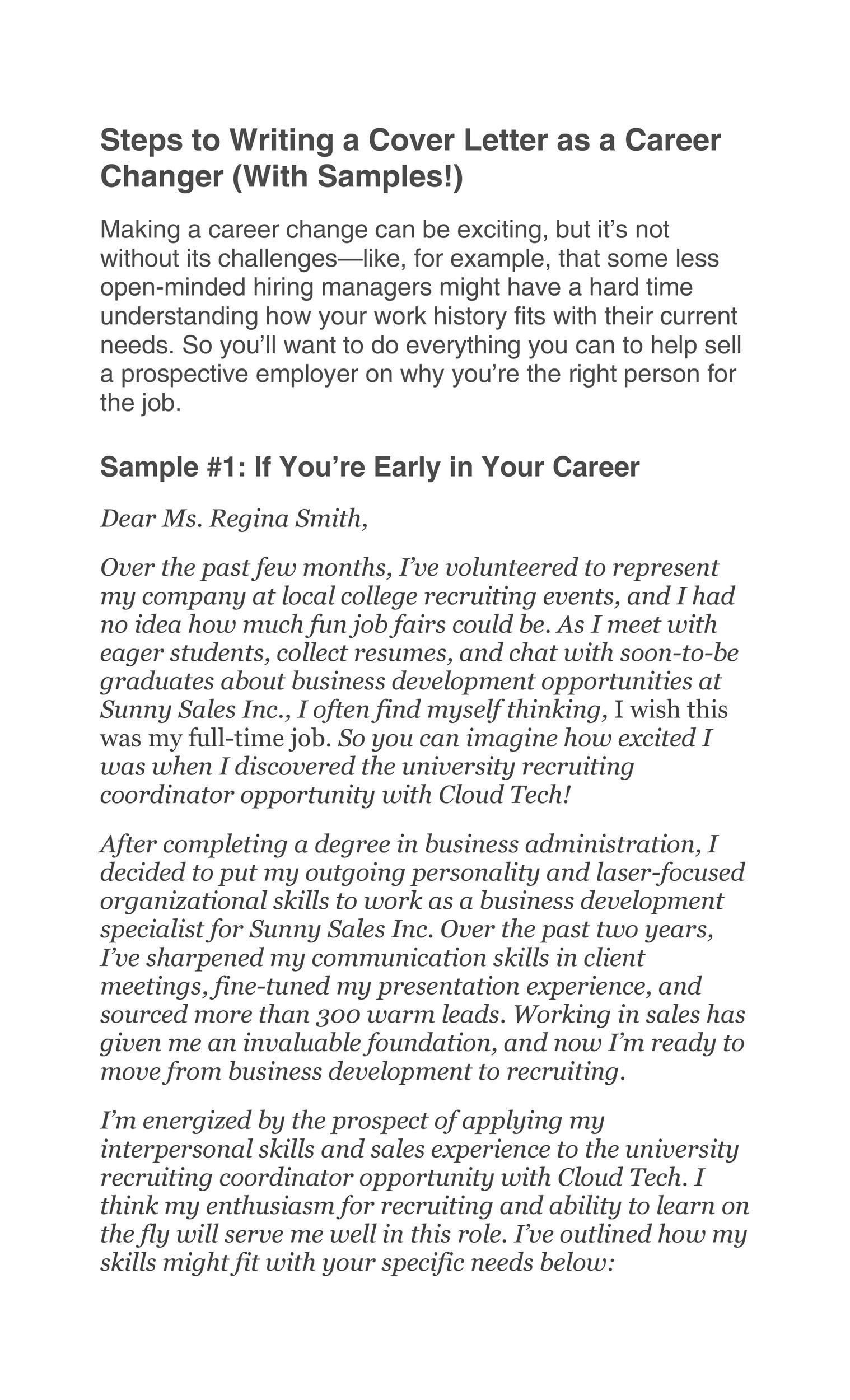 Free career change cover letter 25