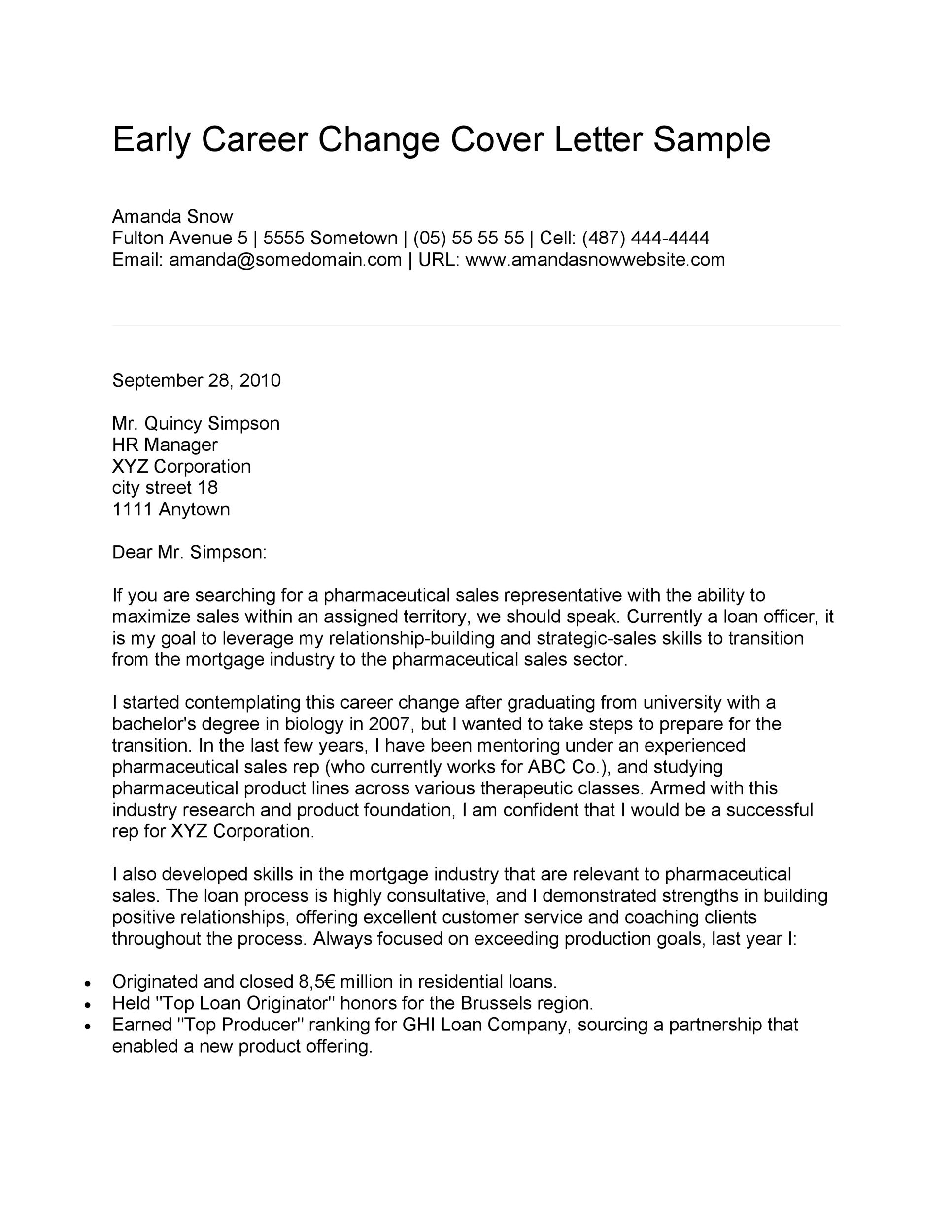 Cover Letter Switching Careers from templatelab.com