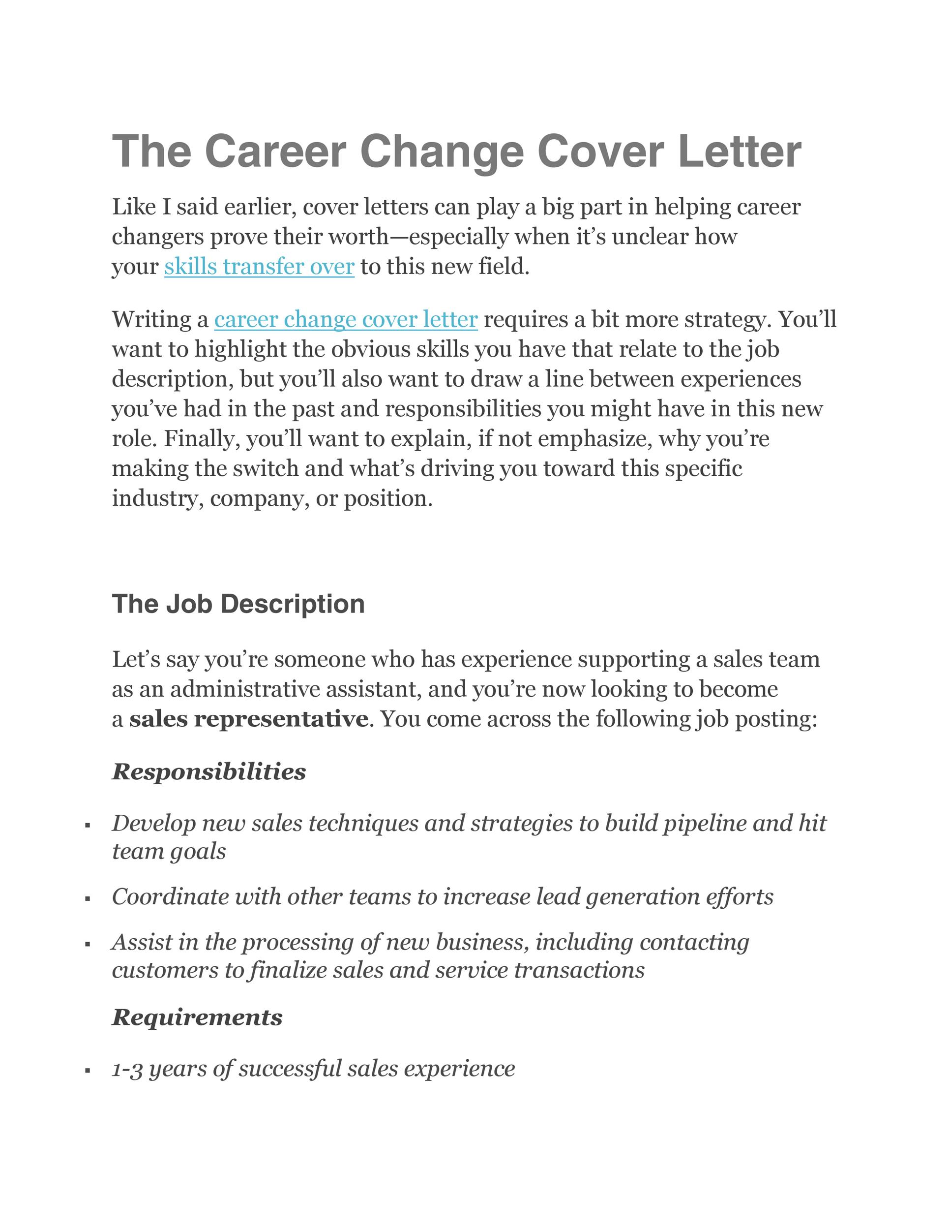 Free career change cover letter 35