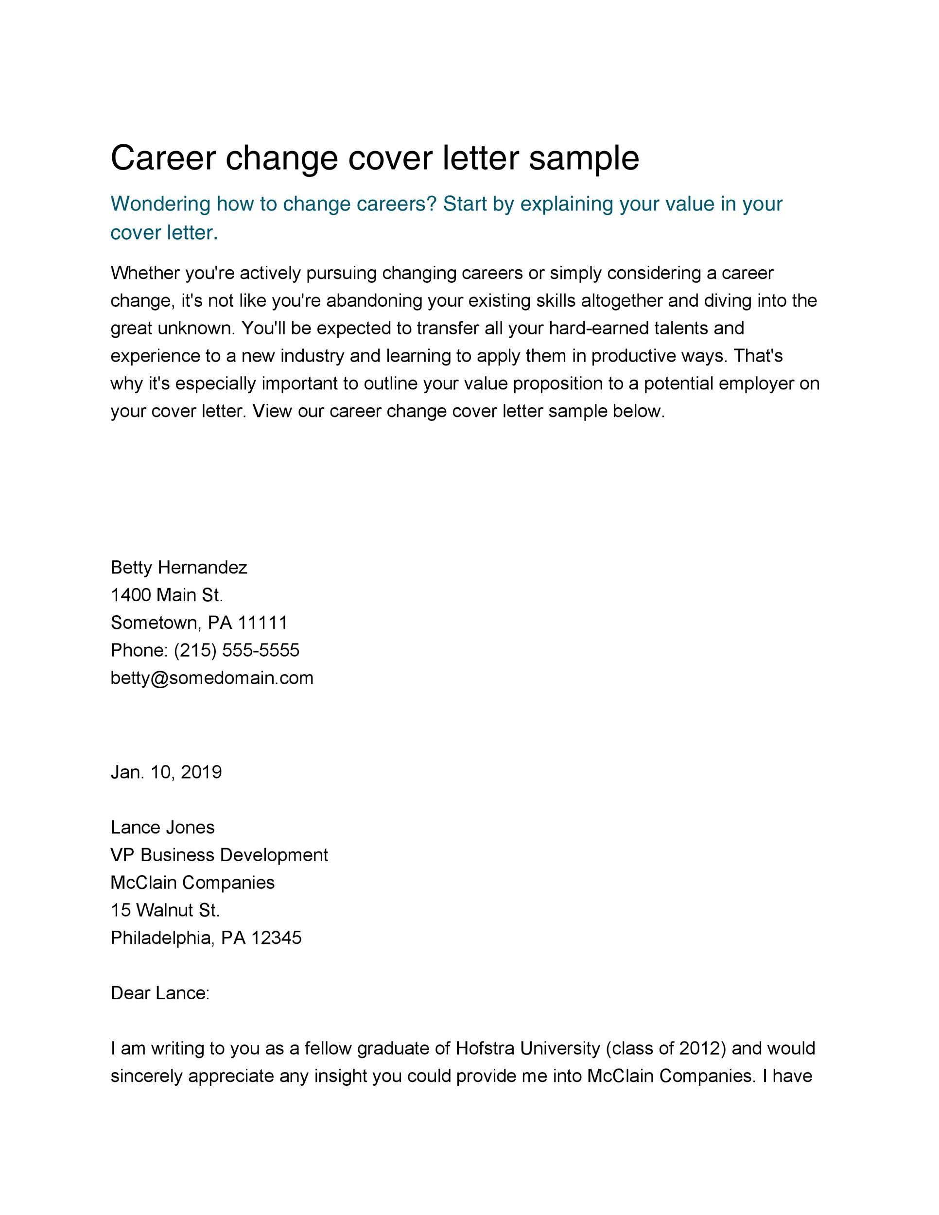 Free career change cover letter 36