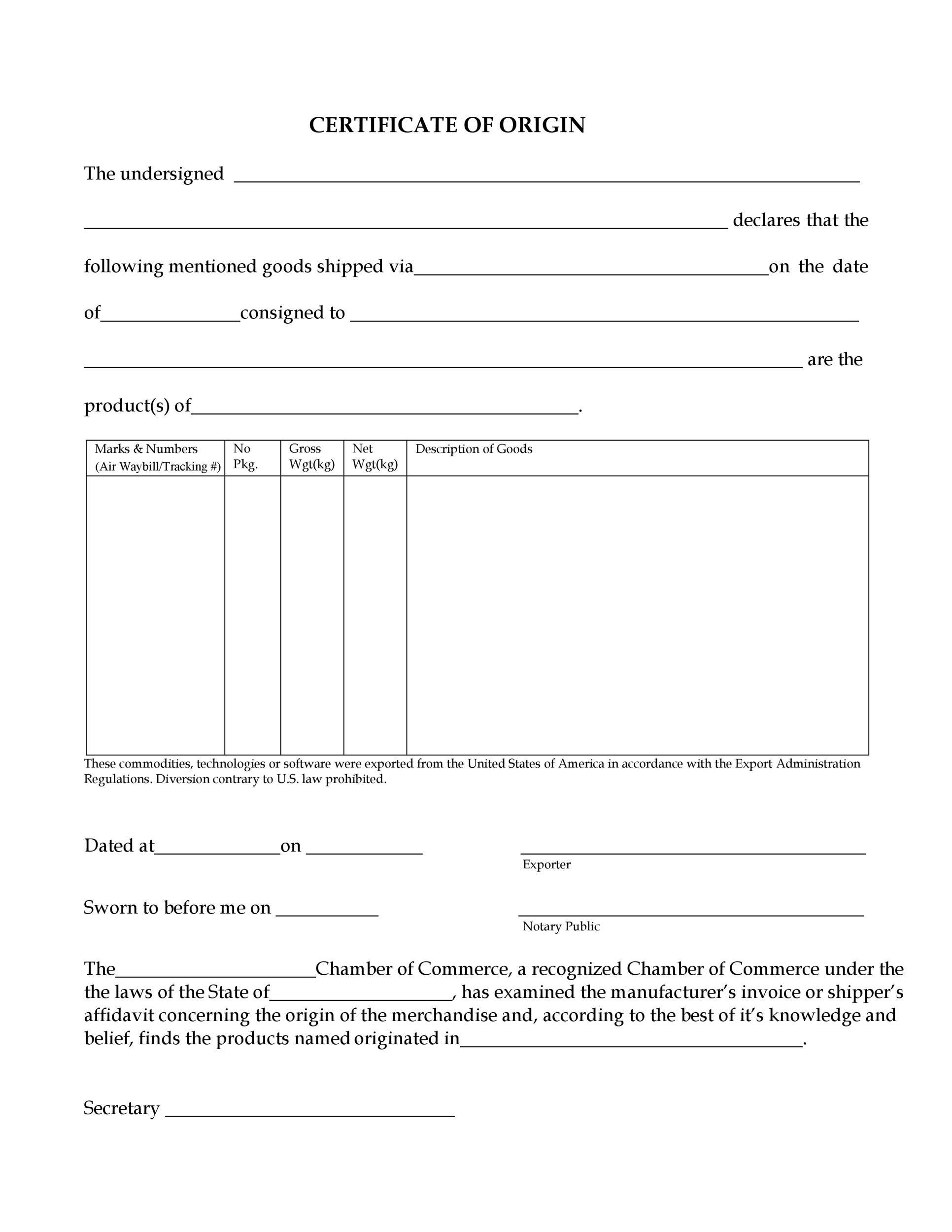 Free certificate of origin 06
