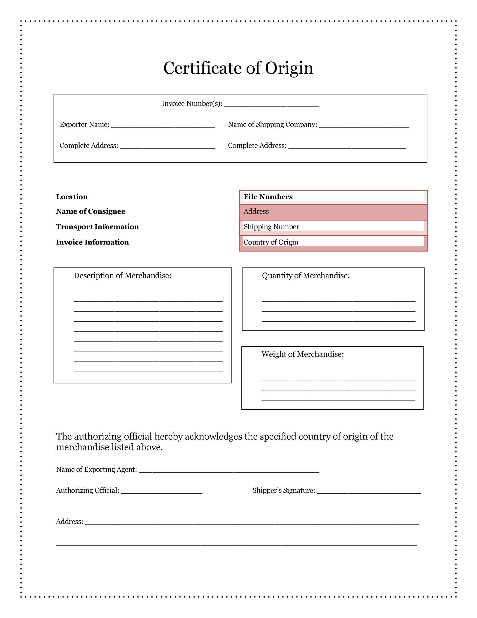 Free certificate of origin 10