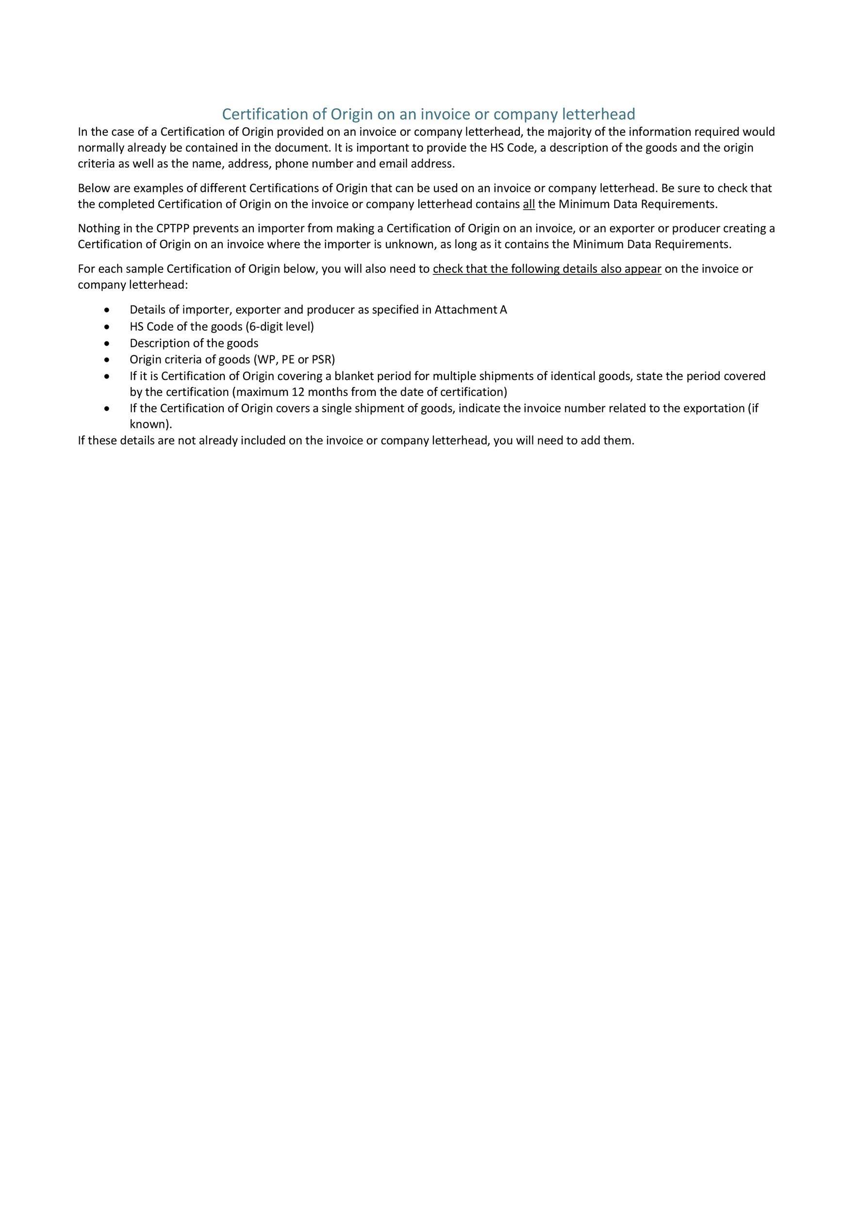 Free certificate of origin 12