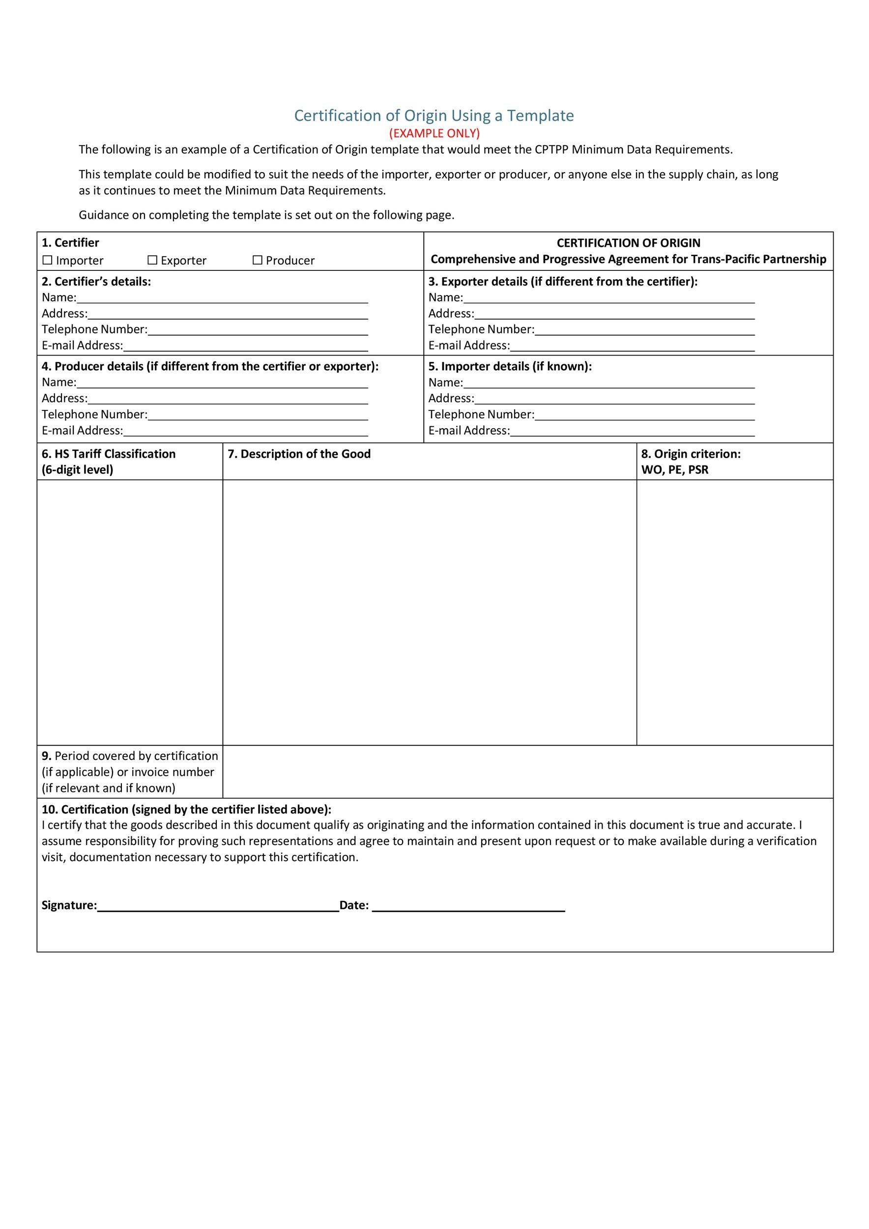 Free certificate of origin 13