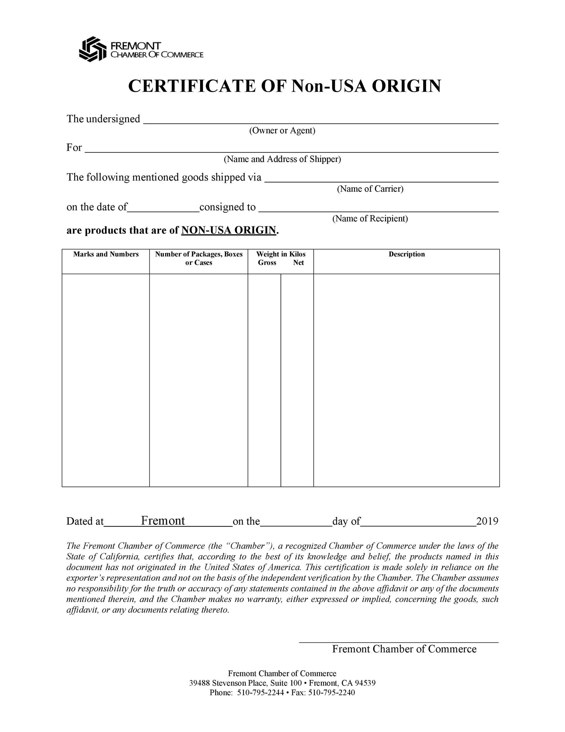 Free certificate of origin 17