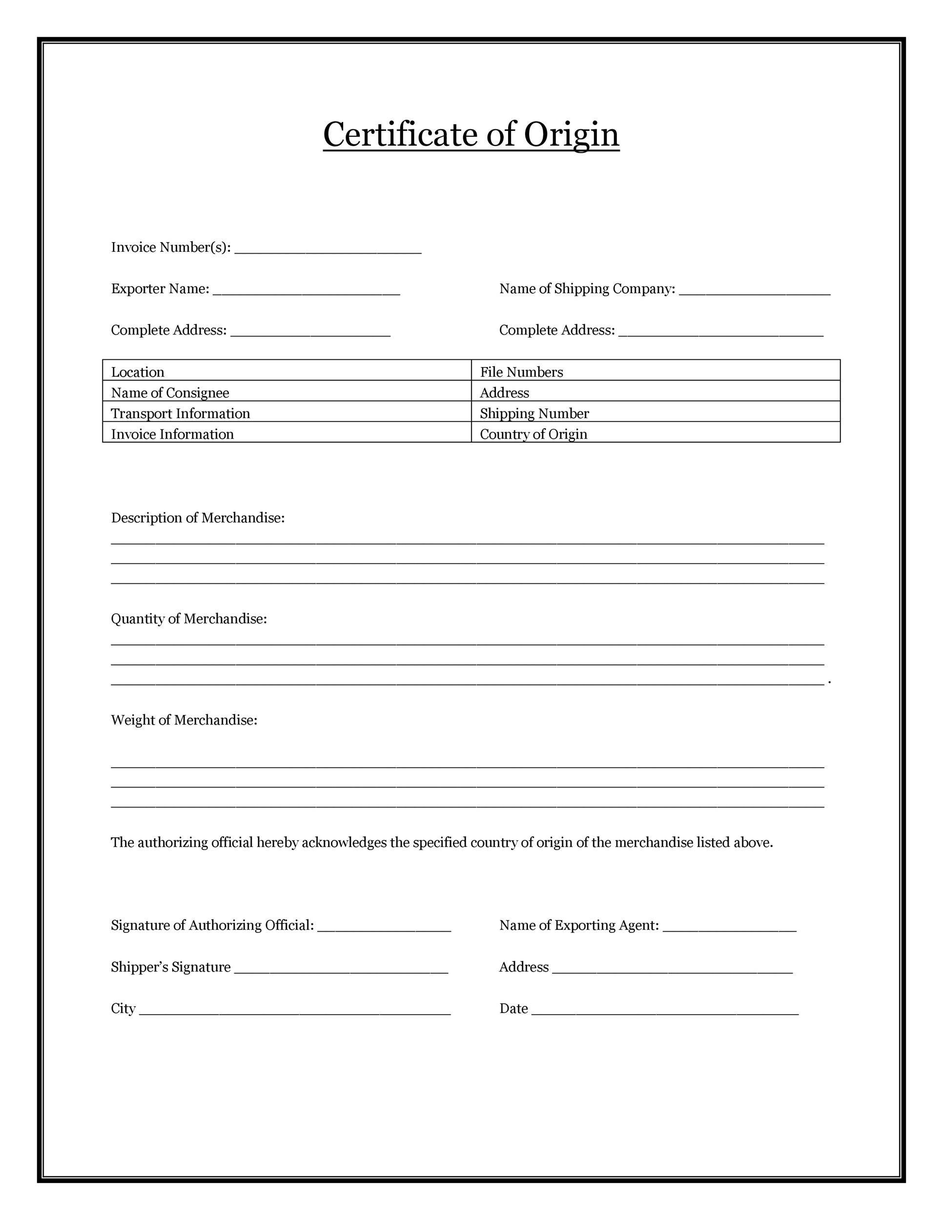Free certificate of origin 20