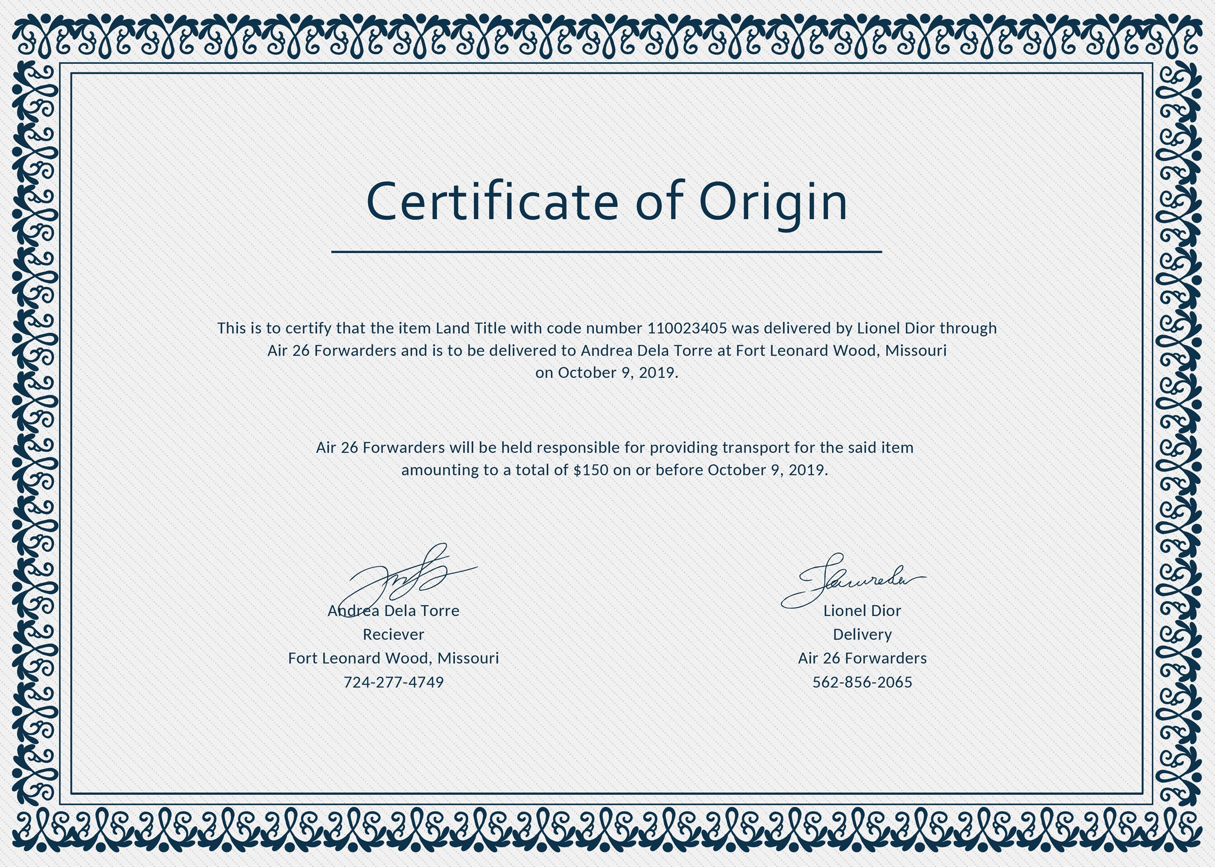 Free certificate of origin 25