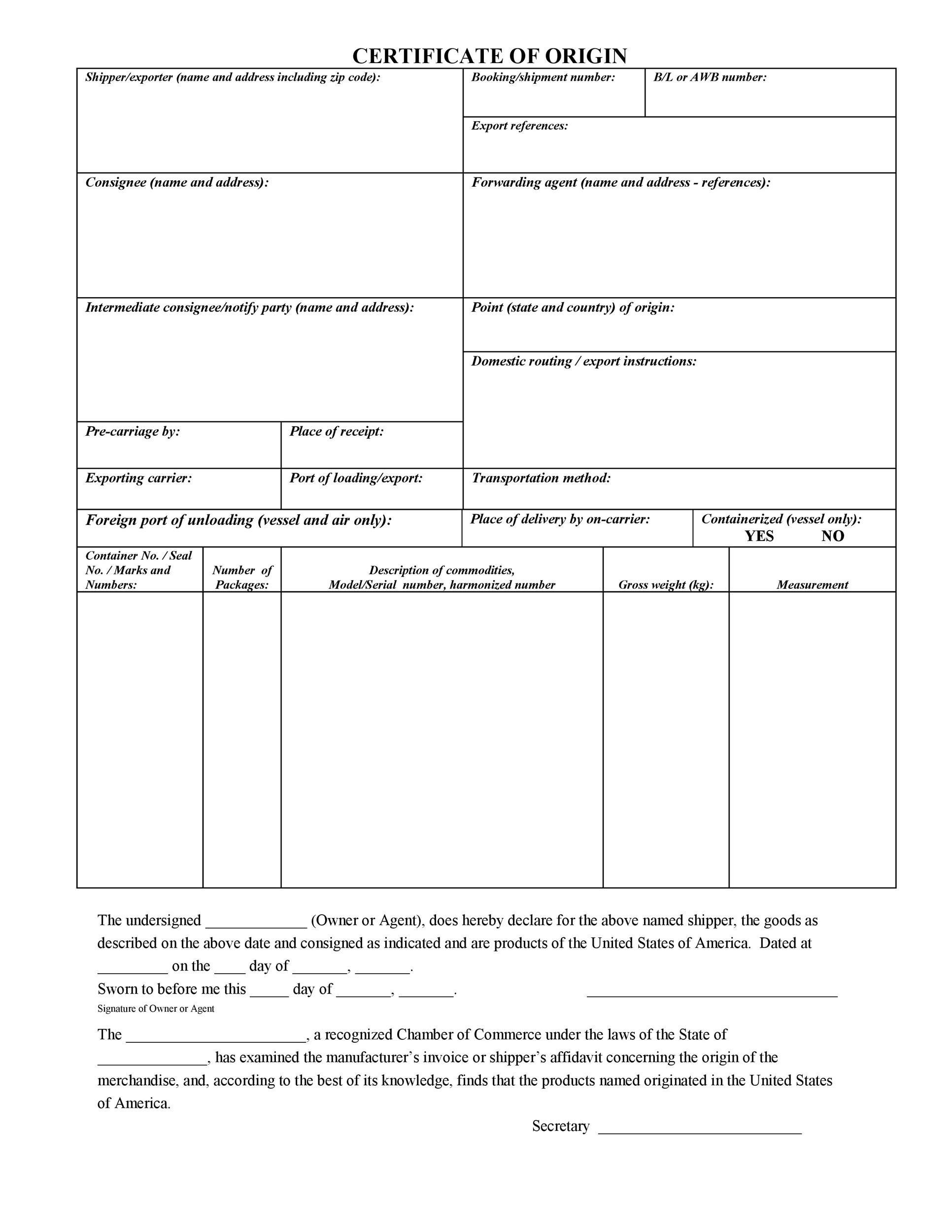 Free certificate of origin 28