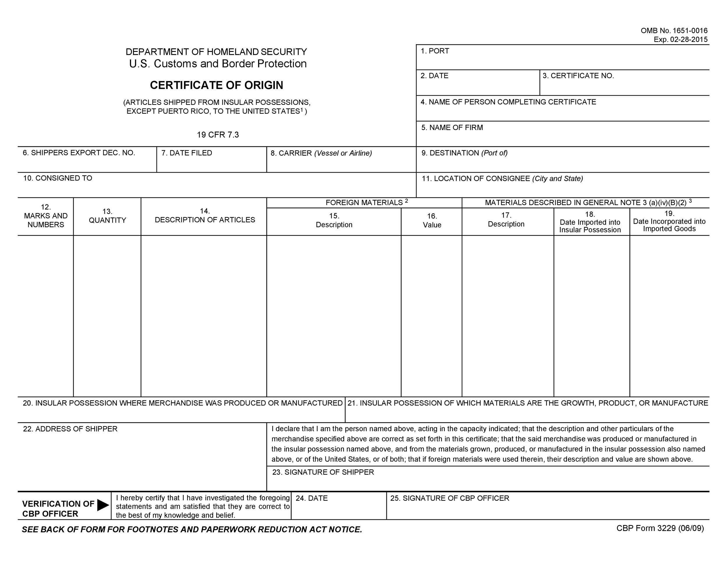 Free certificate of origin 31