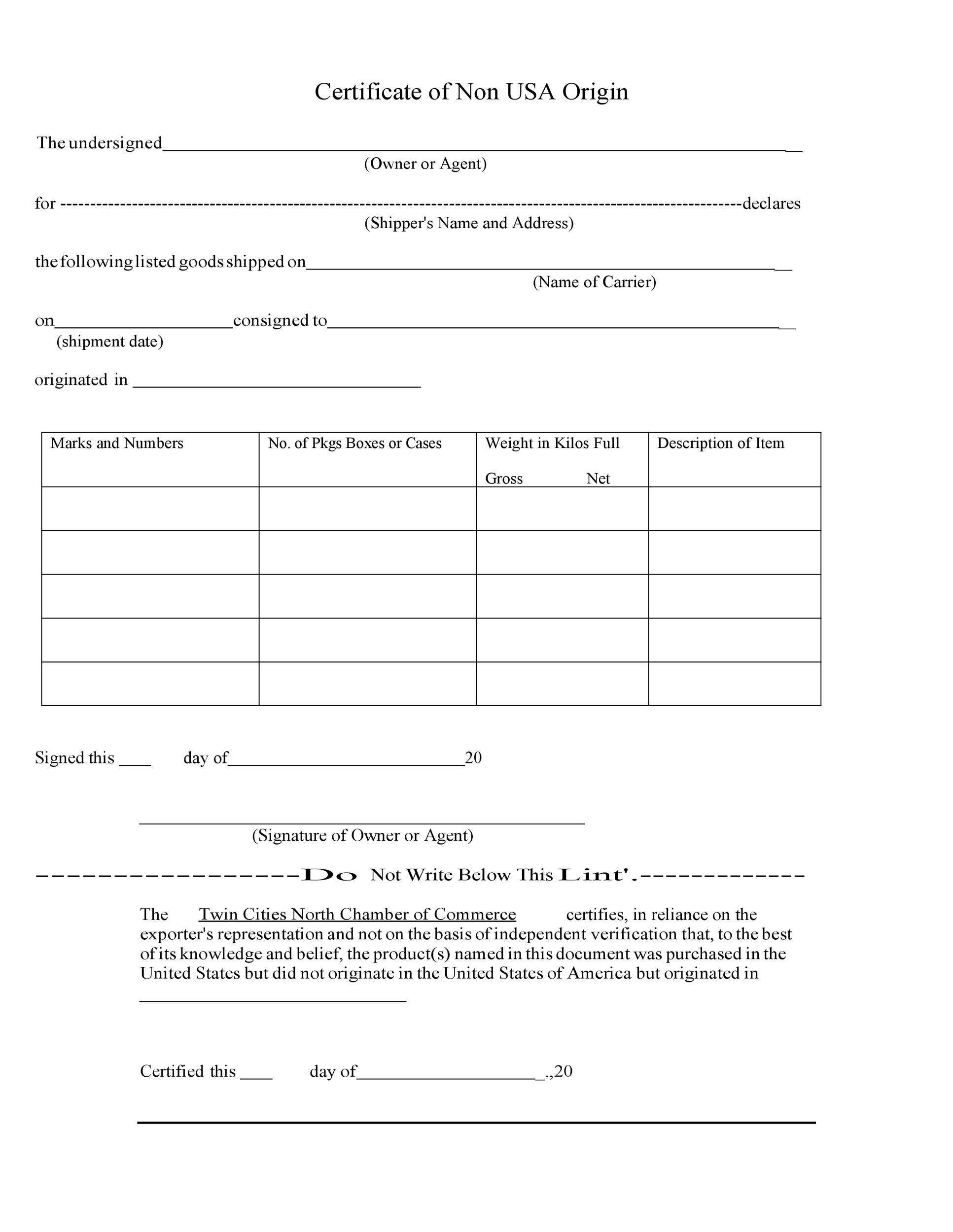 Free certificate of origin 42