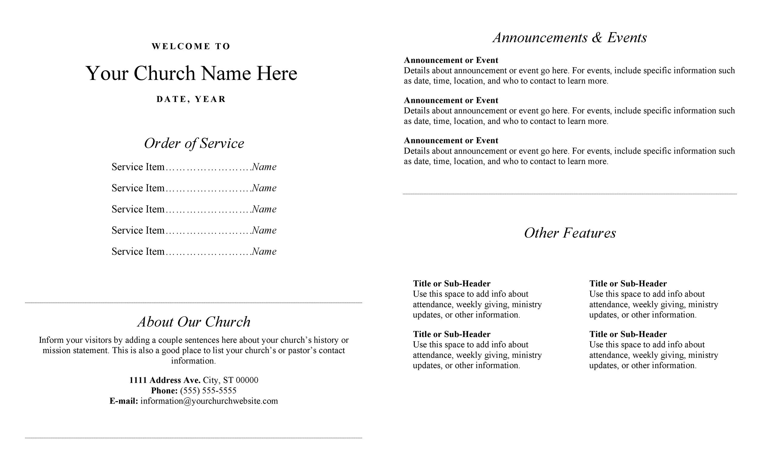 33 Free Church Bulletin Templates (+Church Programs) ᐅ ...
