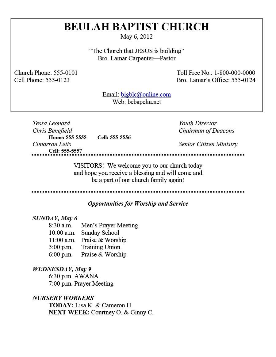 Free church bulletin templates 05