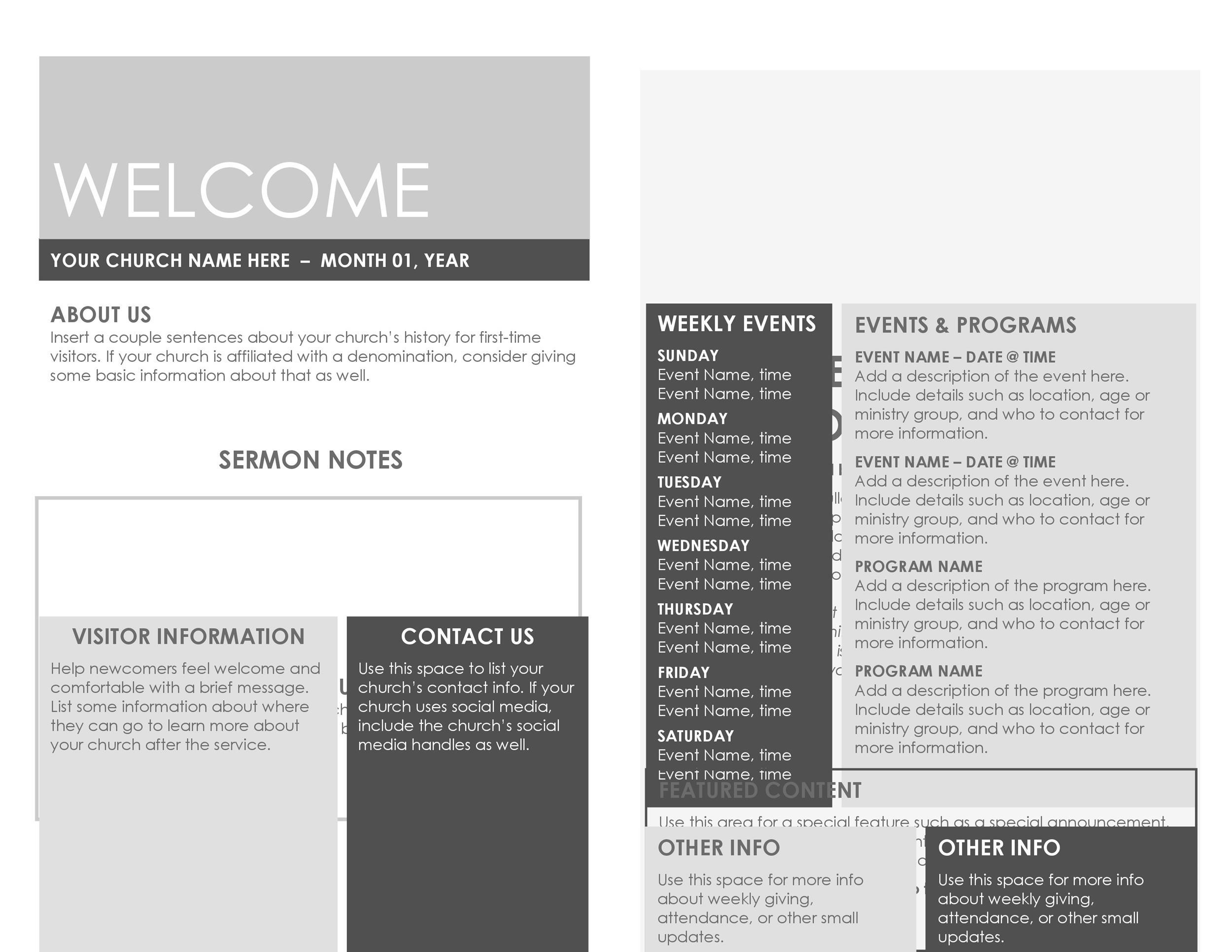 Free church bulletin templates 06