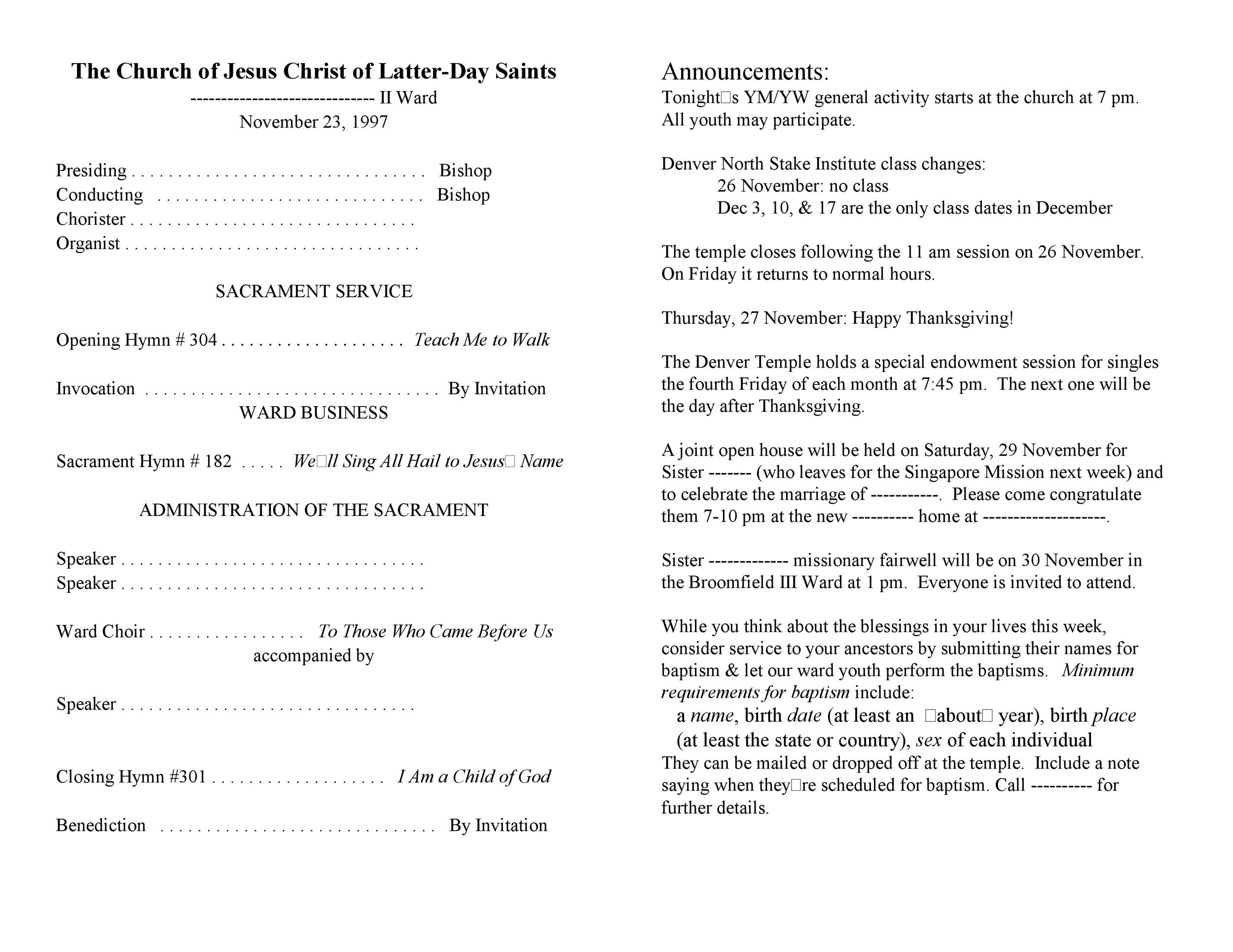 Free church bulletin templates 13