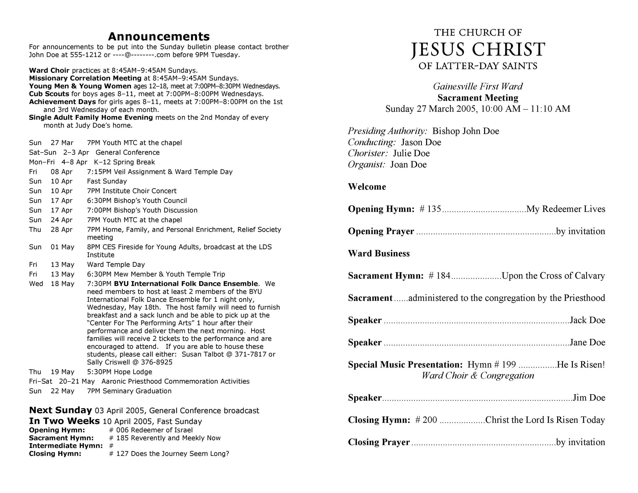 Free church bulletin templates 14