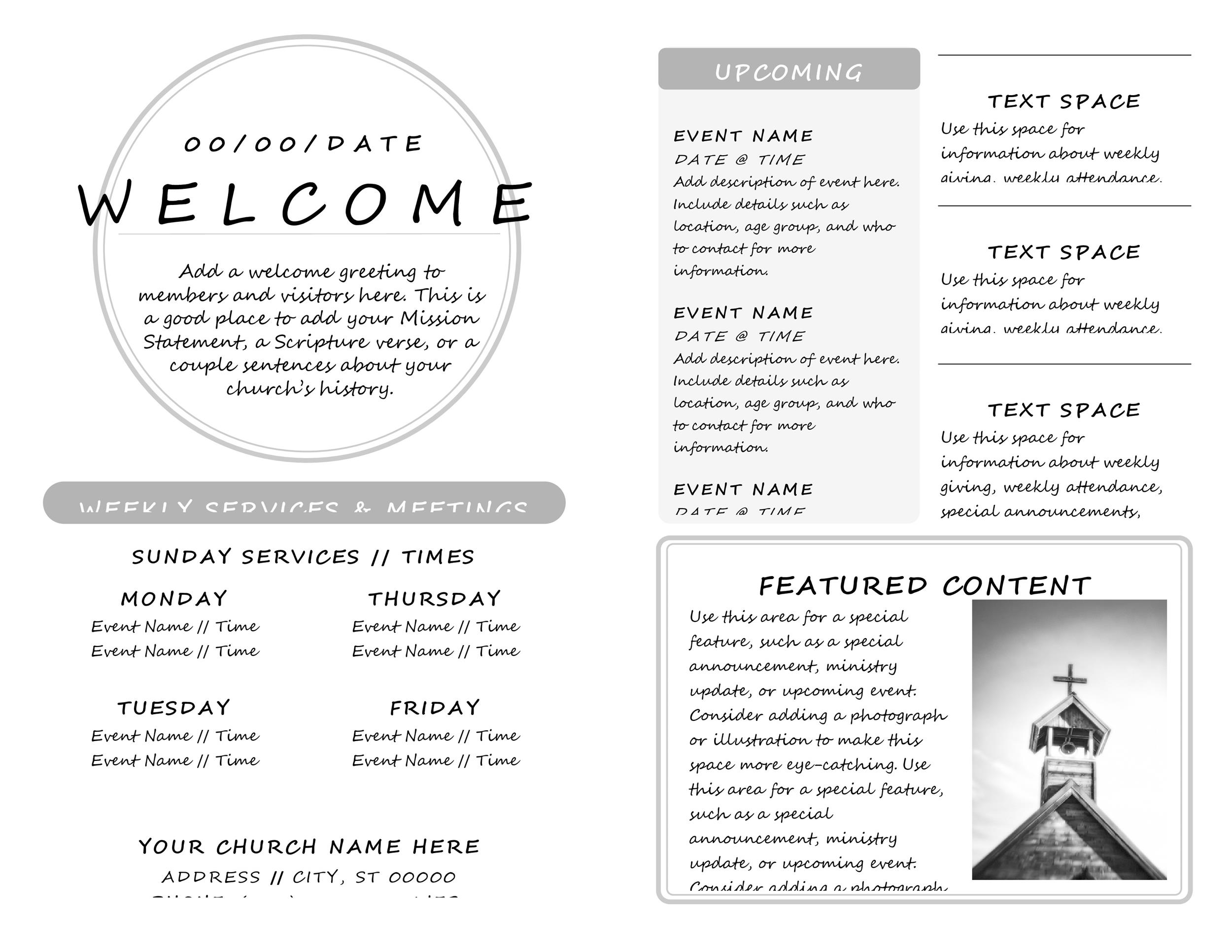 Free church bulletin templates 20
