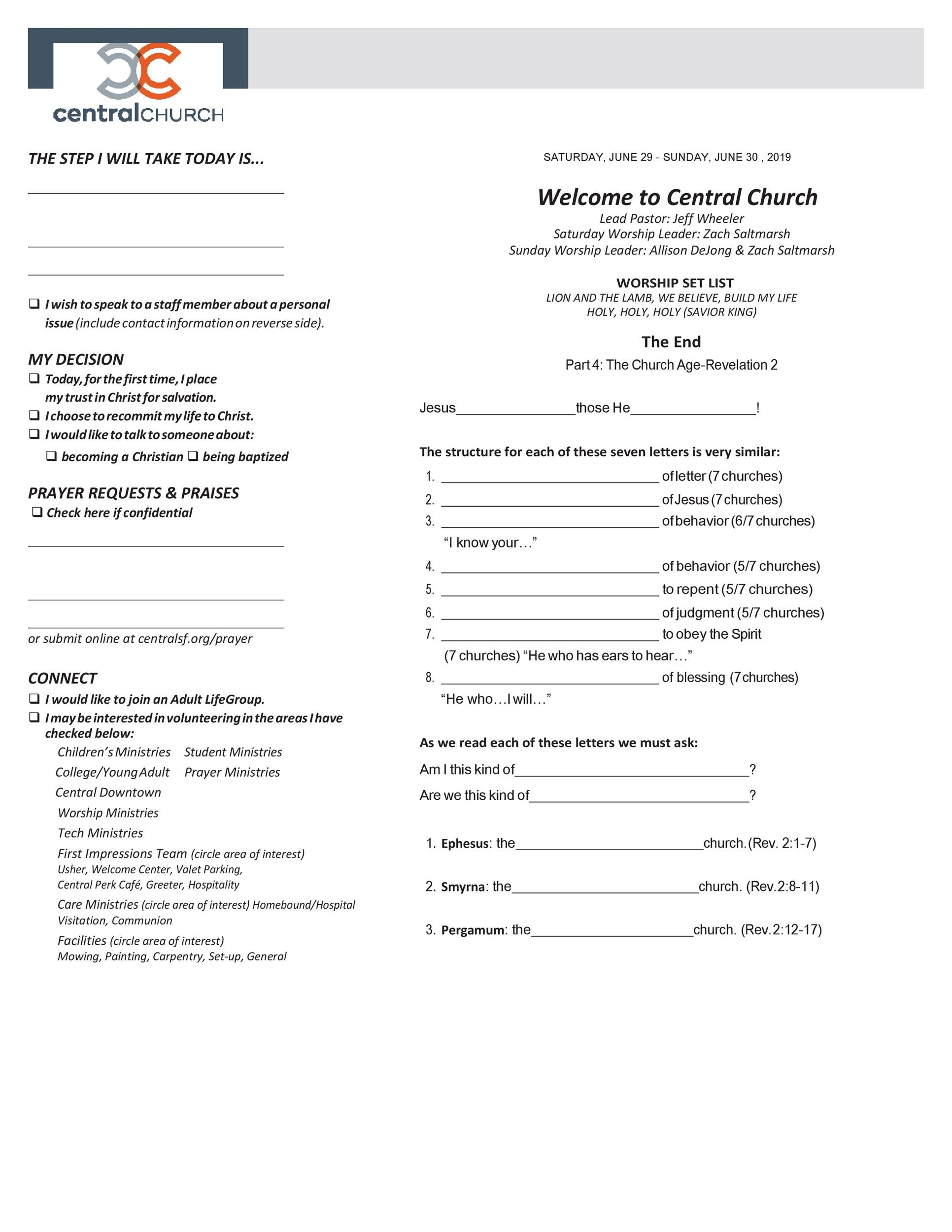 Free church bulletin templates 25