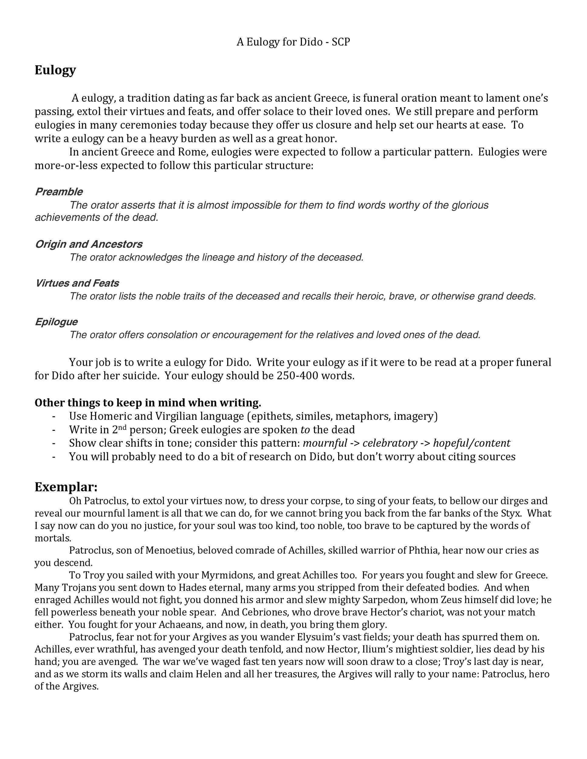 Free eulogy template 12