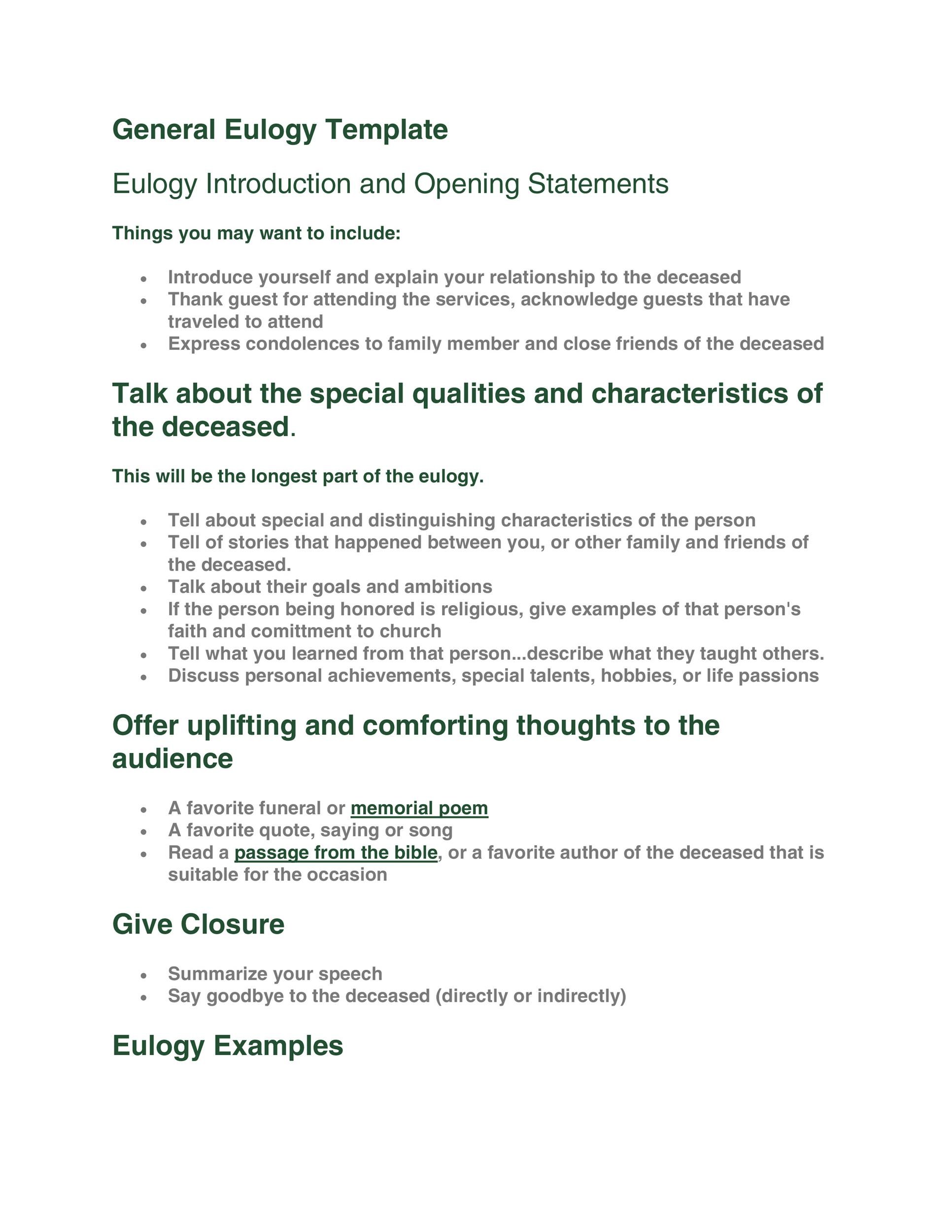 Free eulogy template 14