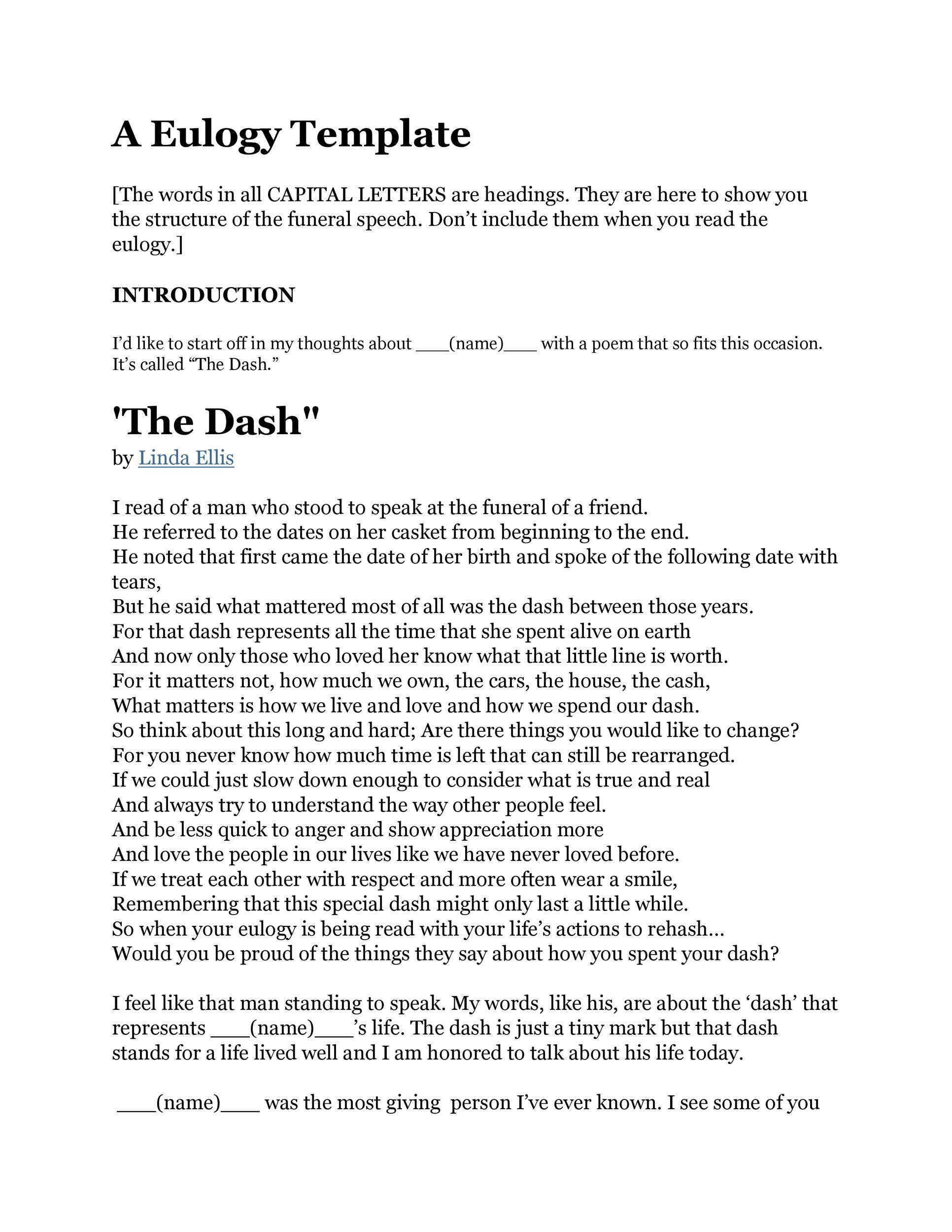 image relating to The Dash Poem Printable Free named 50 Least complicated Eulogy Templates (For Spouse and children or Mates) ᐅ