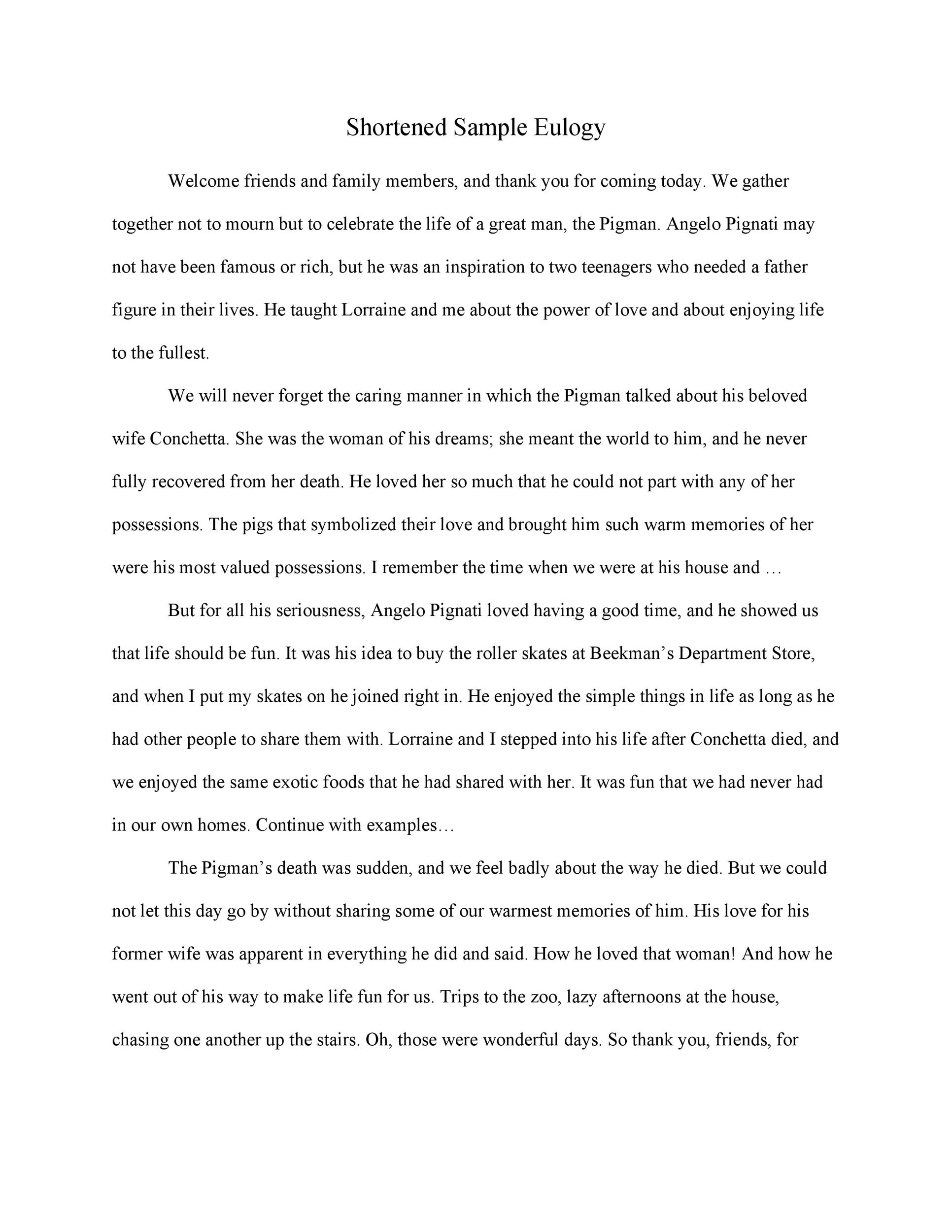 Free eulogy template 20