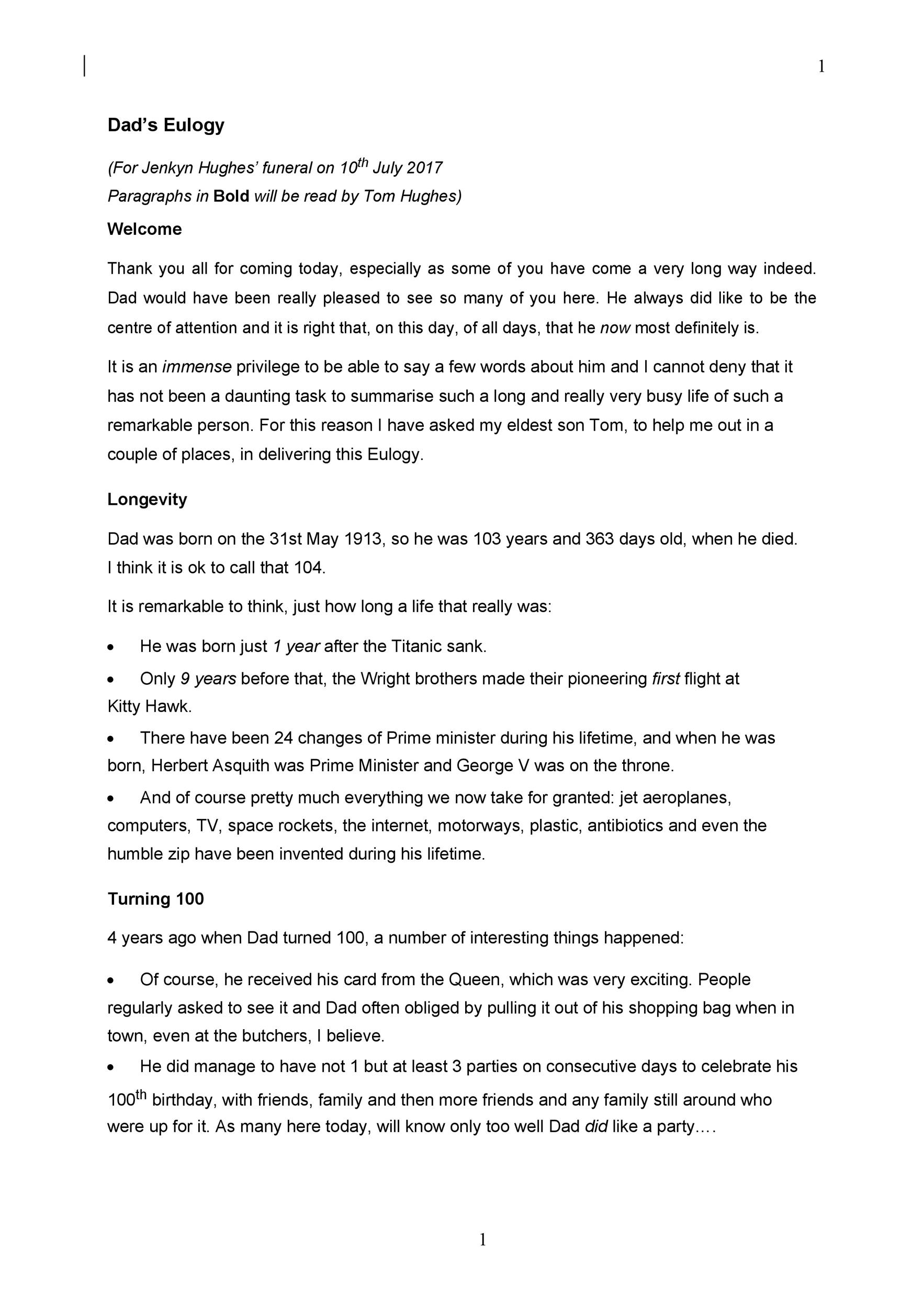 Free eulogy template 27