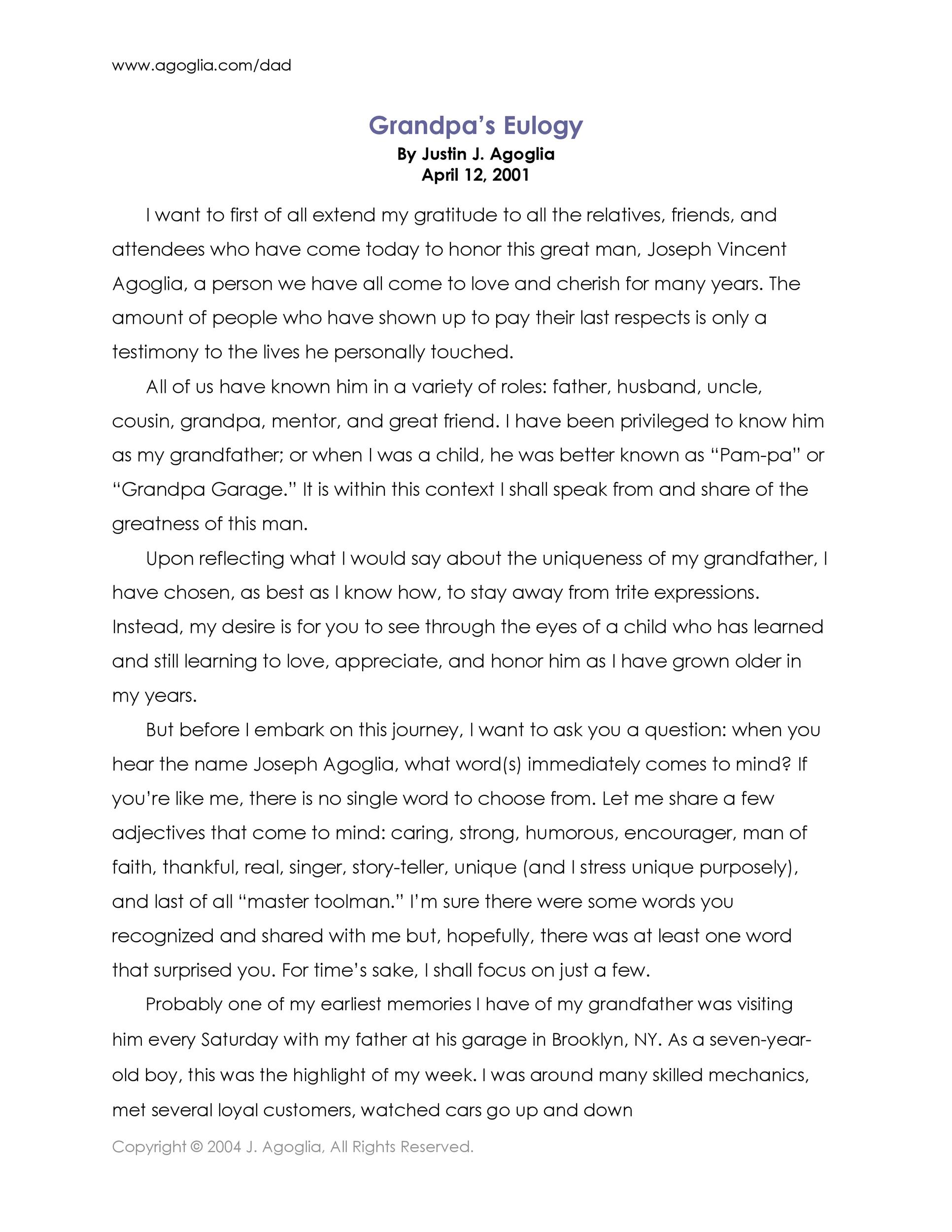 Free eulogy template 48