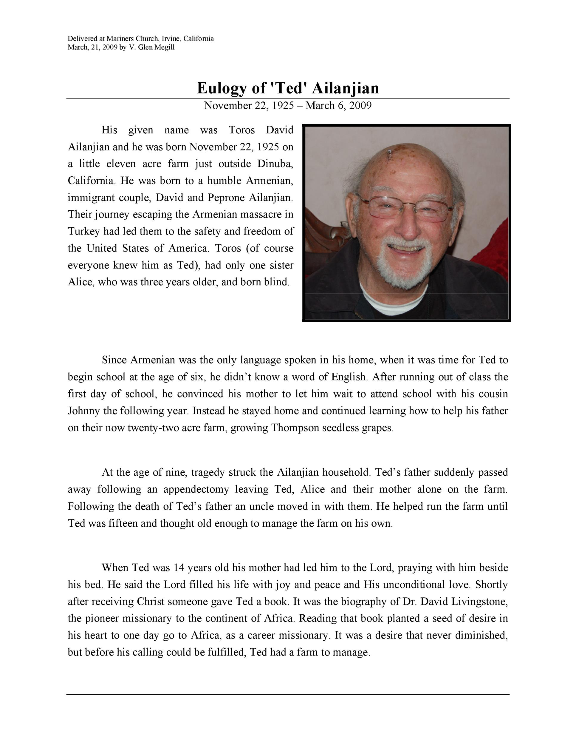 Free eulogy template 49