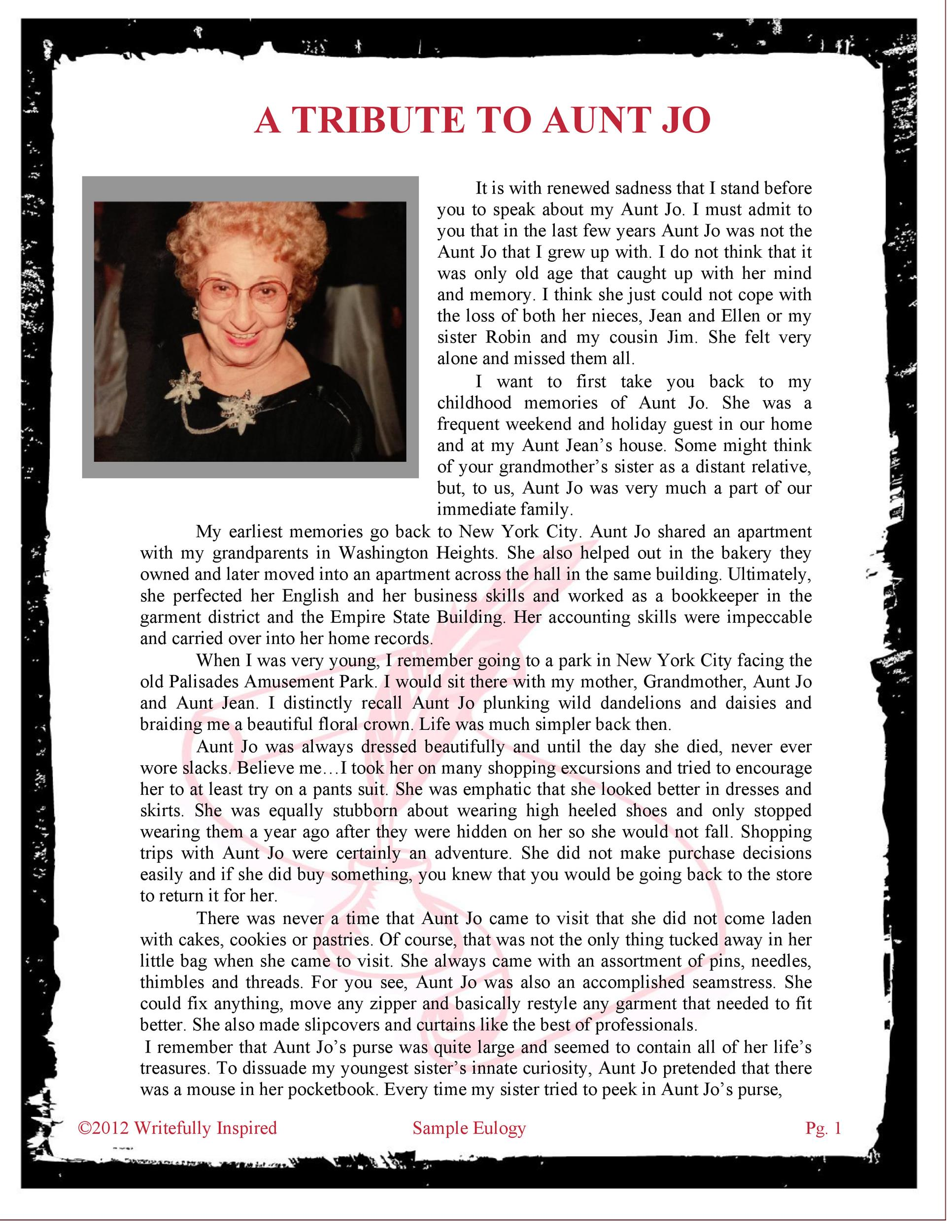 Free eulogy template 50