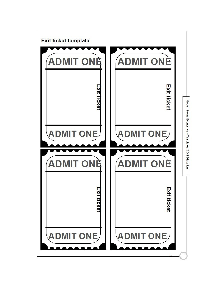 picture relating to Printable Exit Tickets identify 24 Printable Exit Ticket Templates (Phrase PDF) ᐅ Template Lab