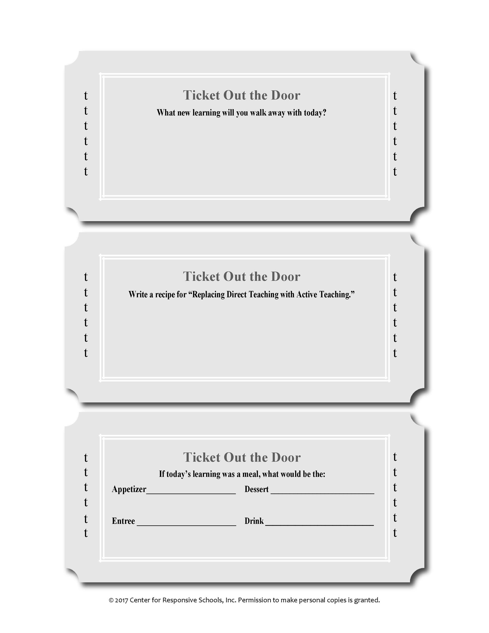 photo relating to Printable Exit Tickets identified as 24 Printable Exit Ticket Templates (Term PDF) ᐅ Template Lab