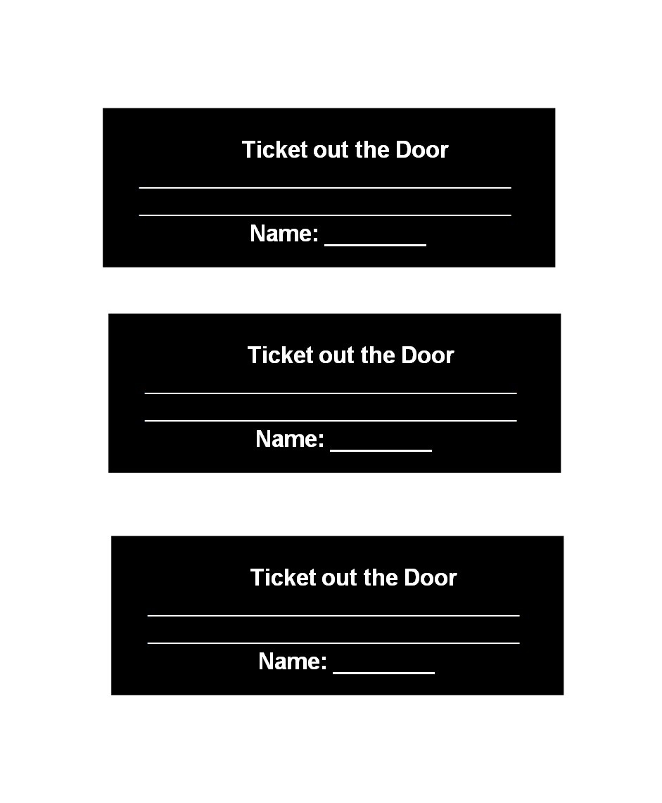 Free exit ticket template 09