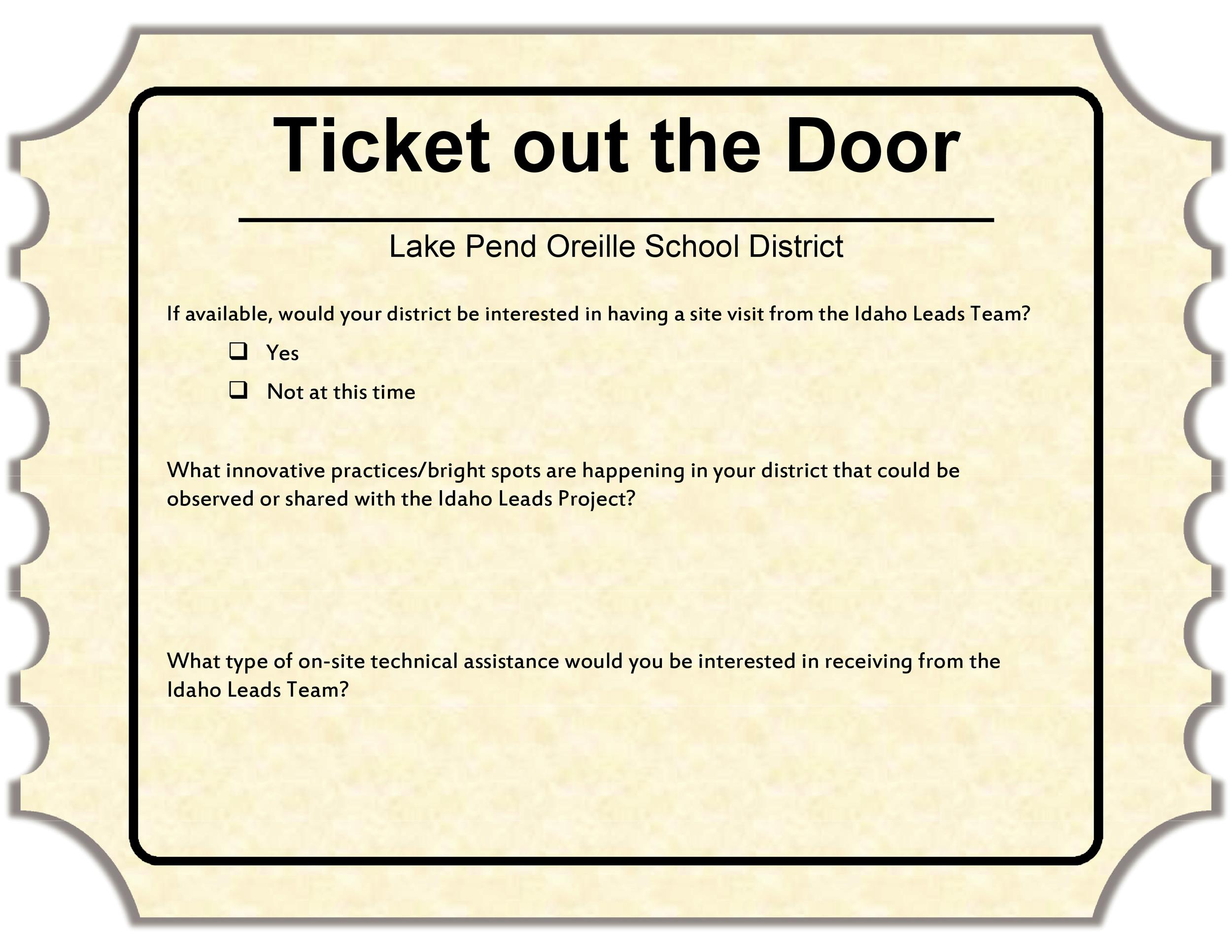 Free exit ticket template 11