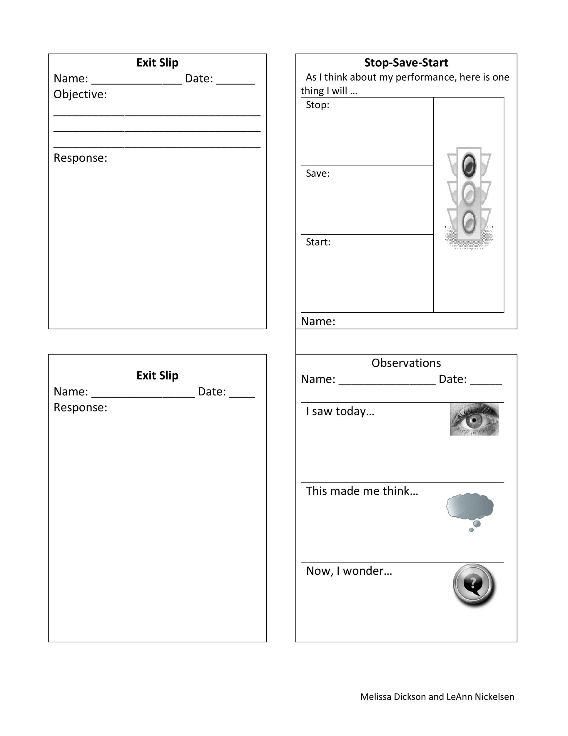 Free exit ticket template 17