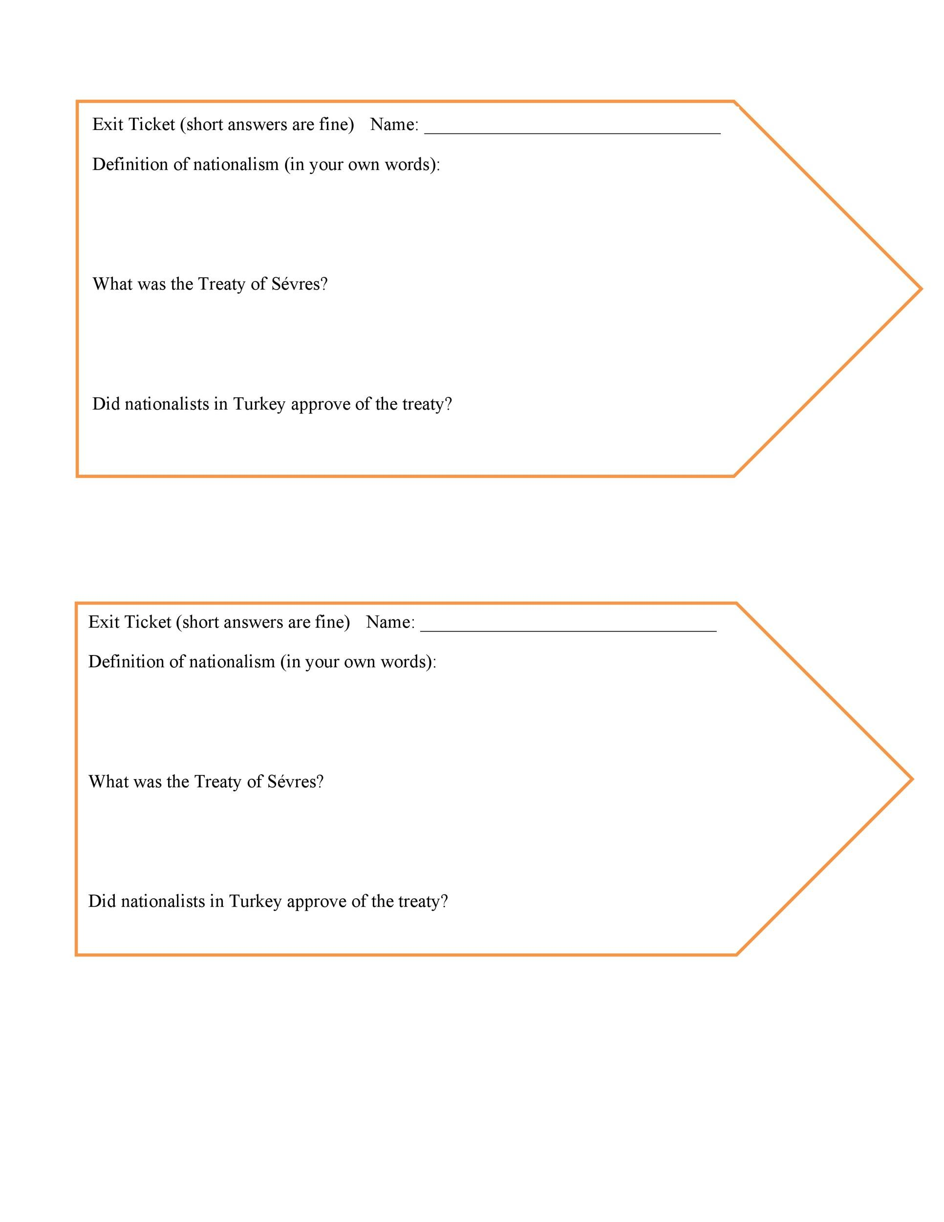 Free exit ticket template 22