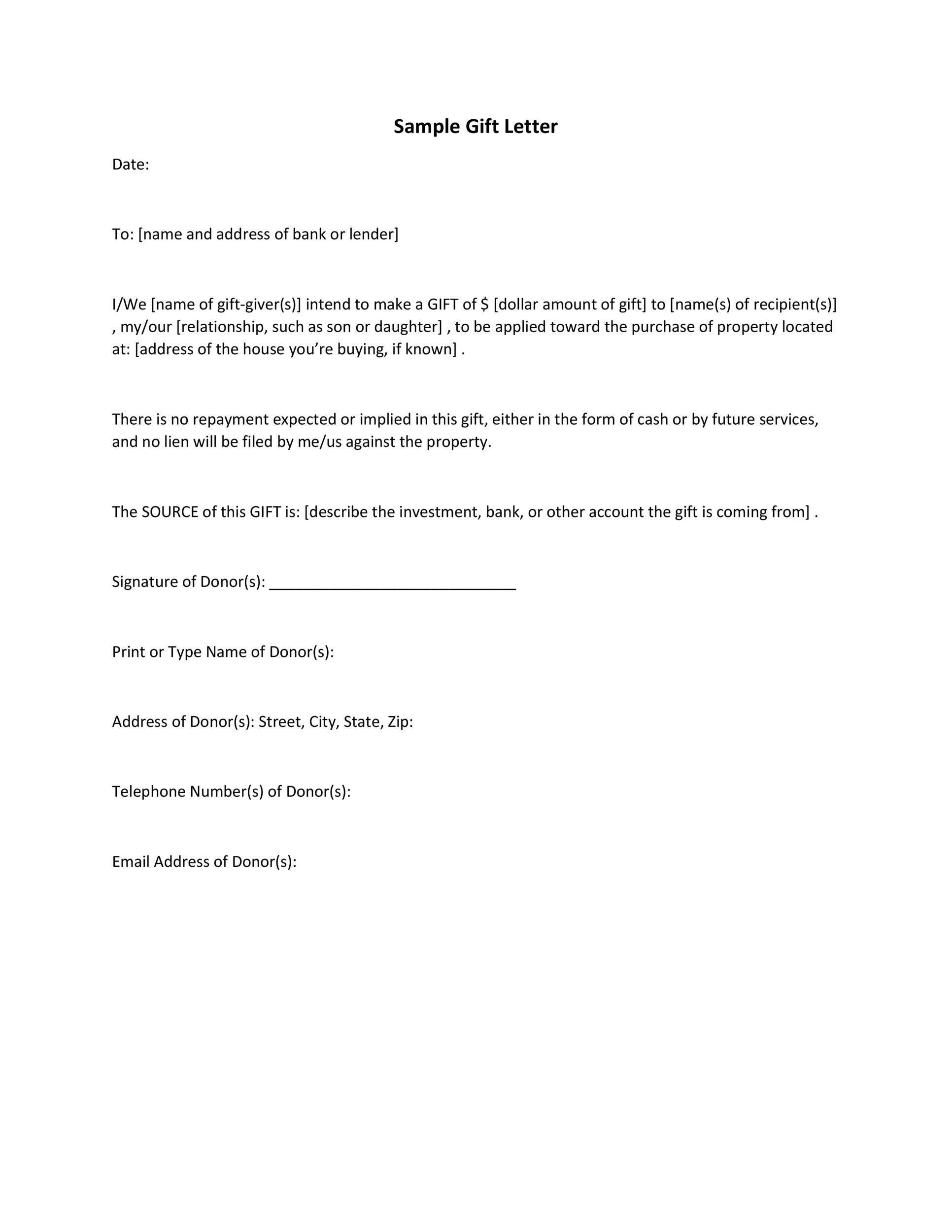 Free gift letter template 01