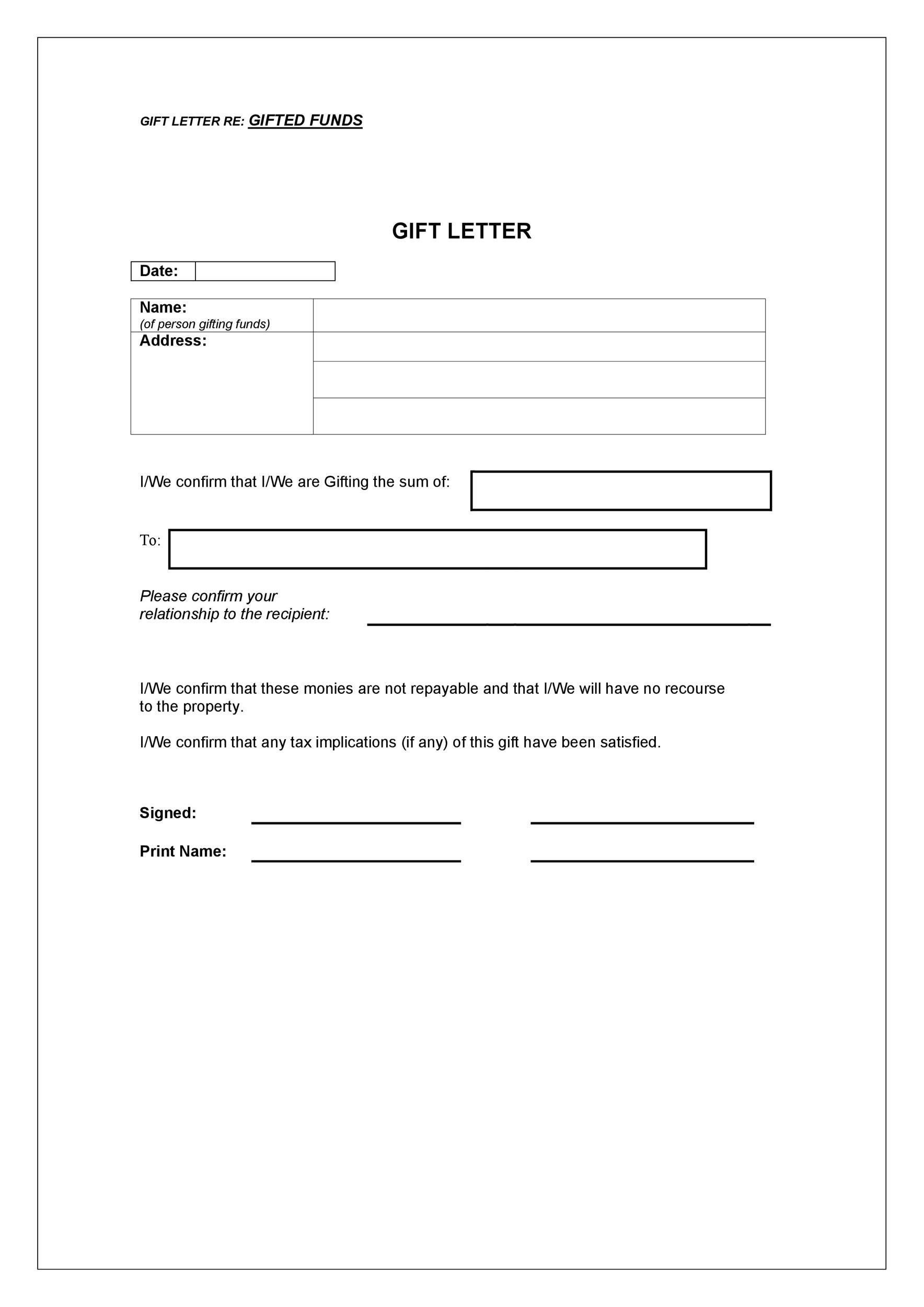Free gift letter template 03