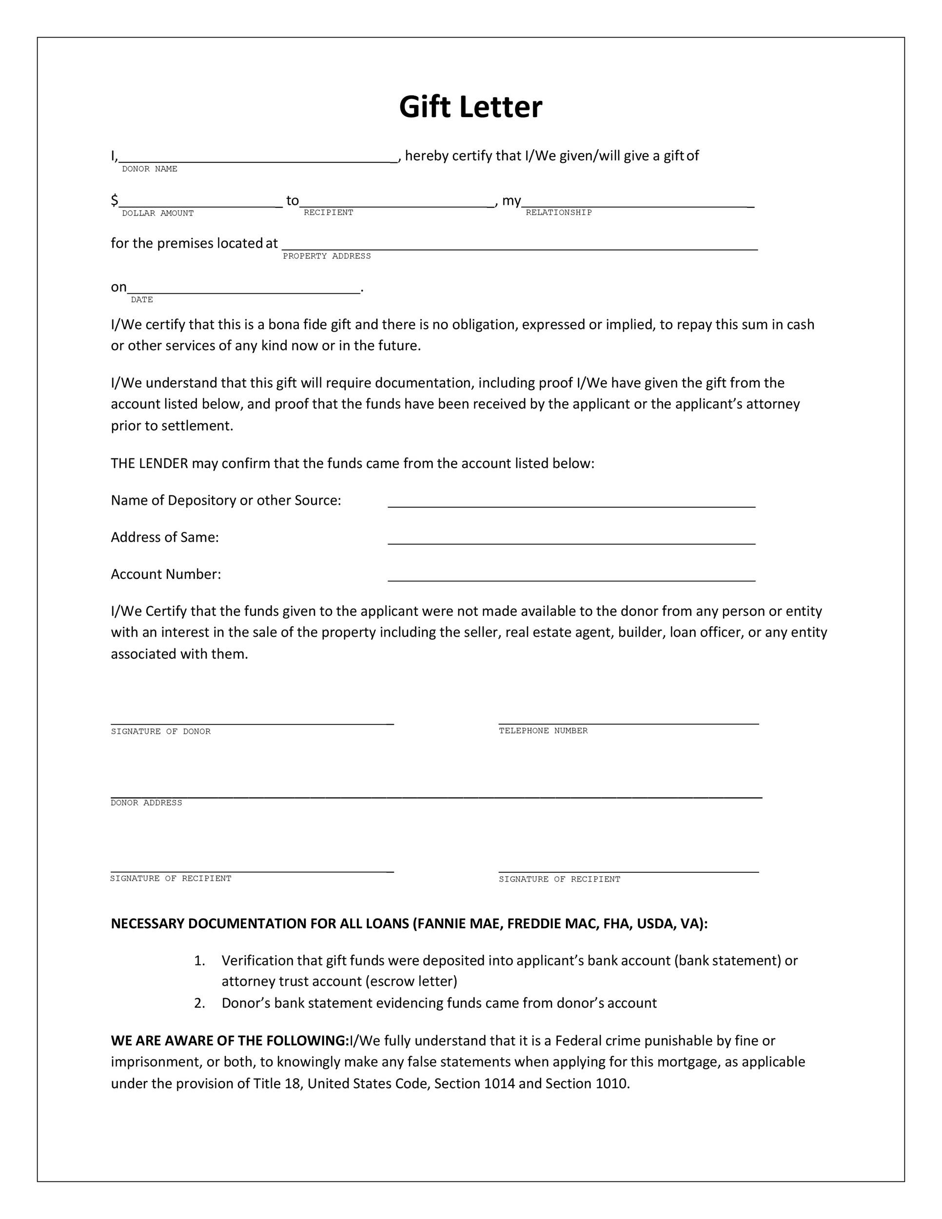 gift letter template mortgage  12 Best Gift Letter Templates (Word & PDF) ᐅ Template Lab