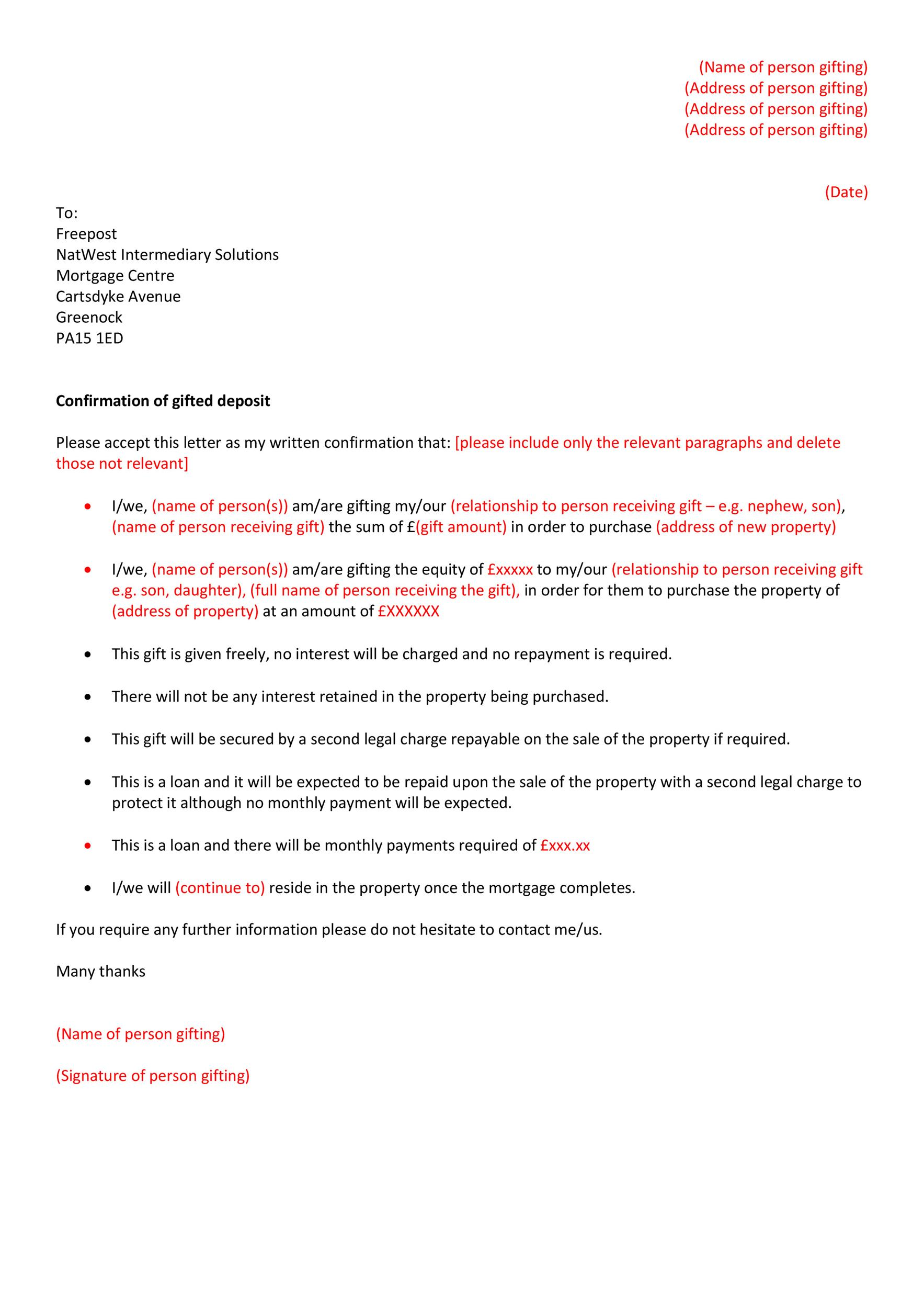 Free gift letter template 05
