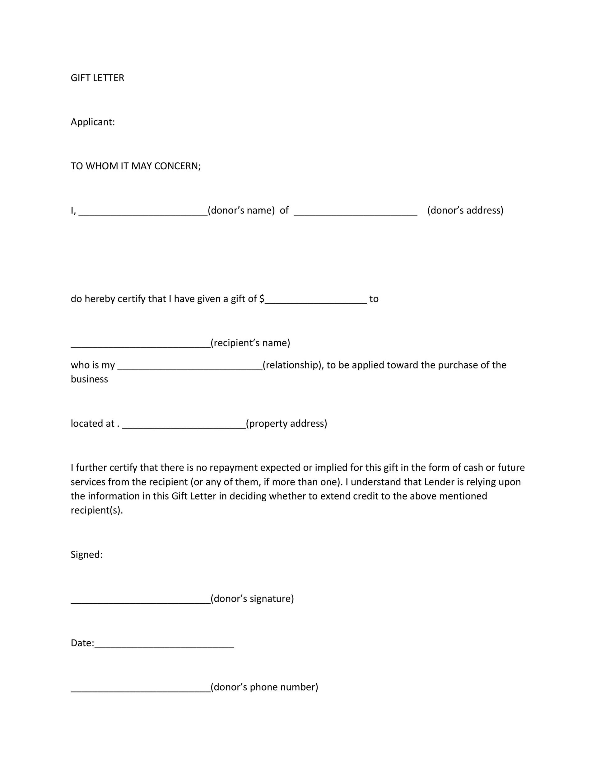Free gift letter template 20