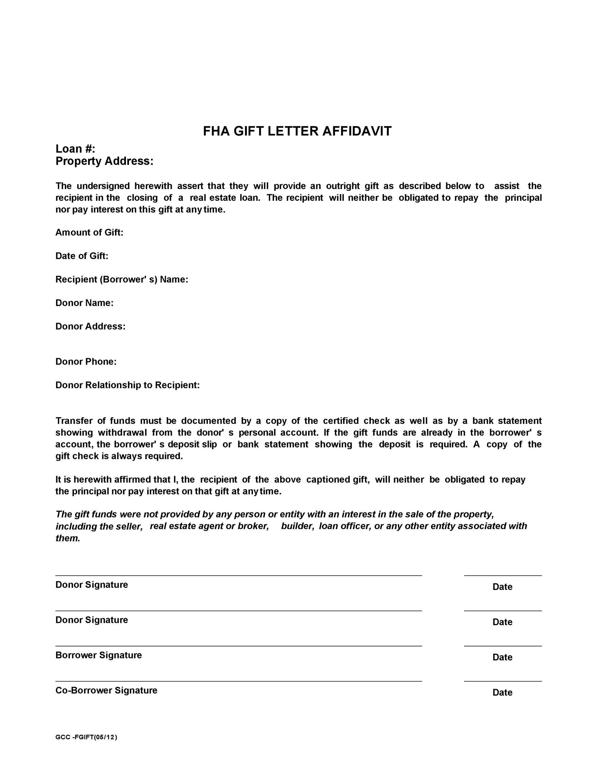 Free gift letter template 38