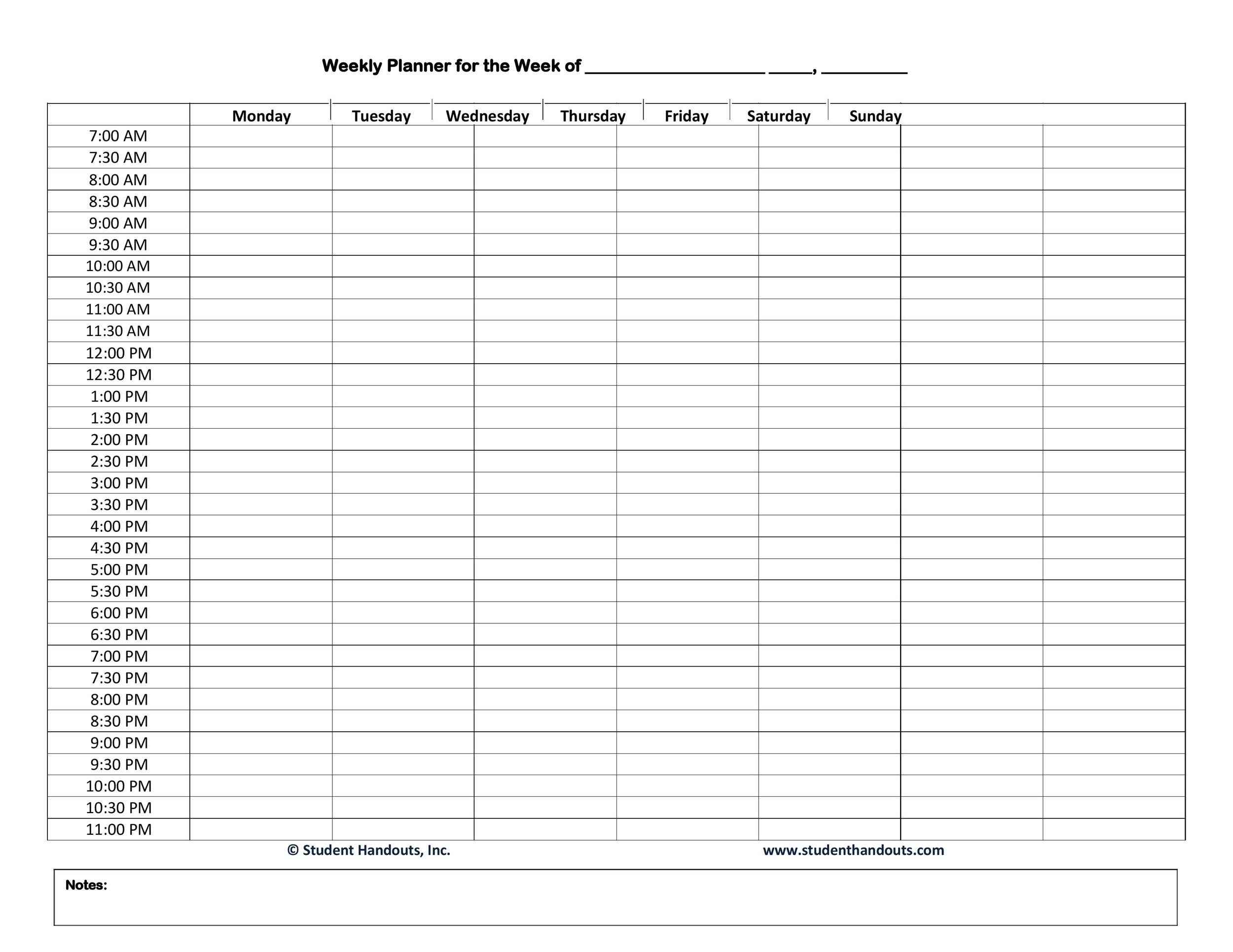 Free hourly schedule template 02