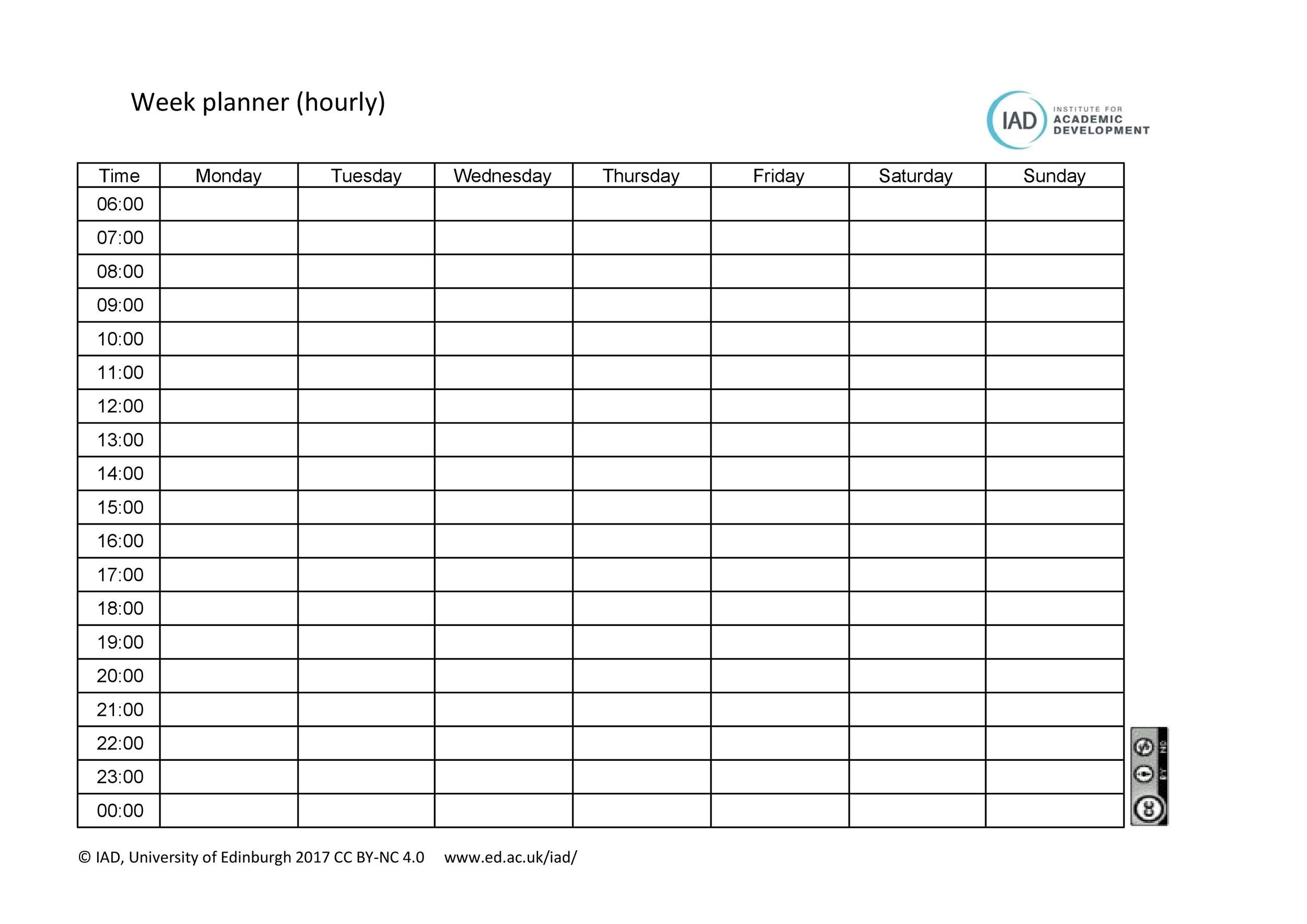 Free hourly schedule template 16