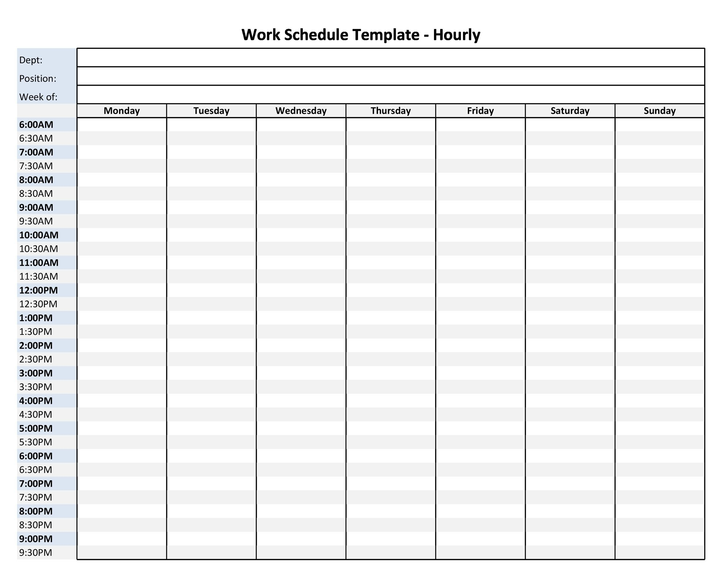 Free hourly schedule template 23