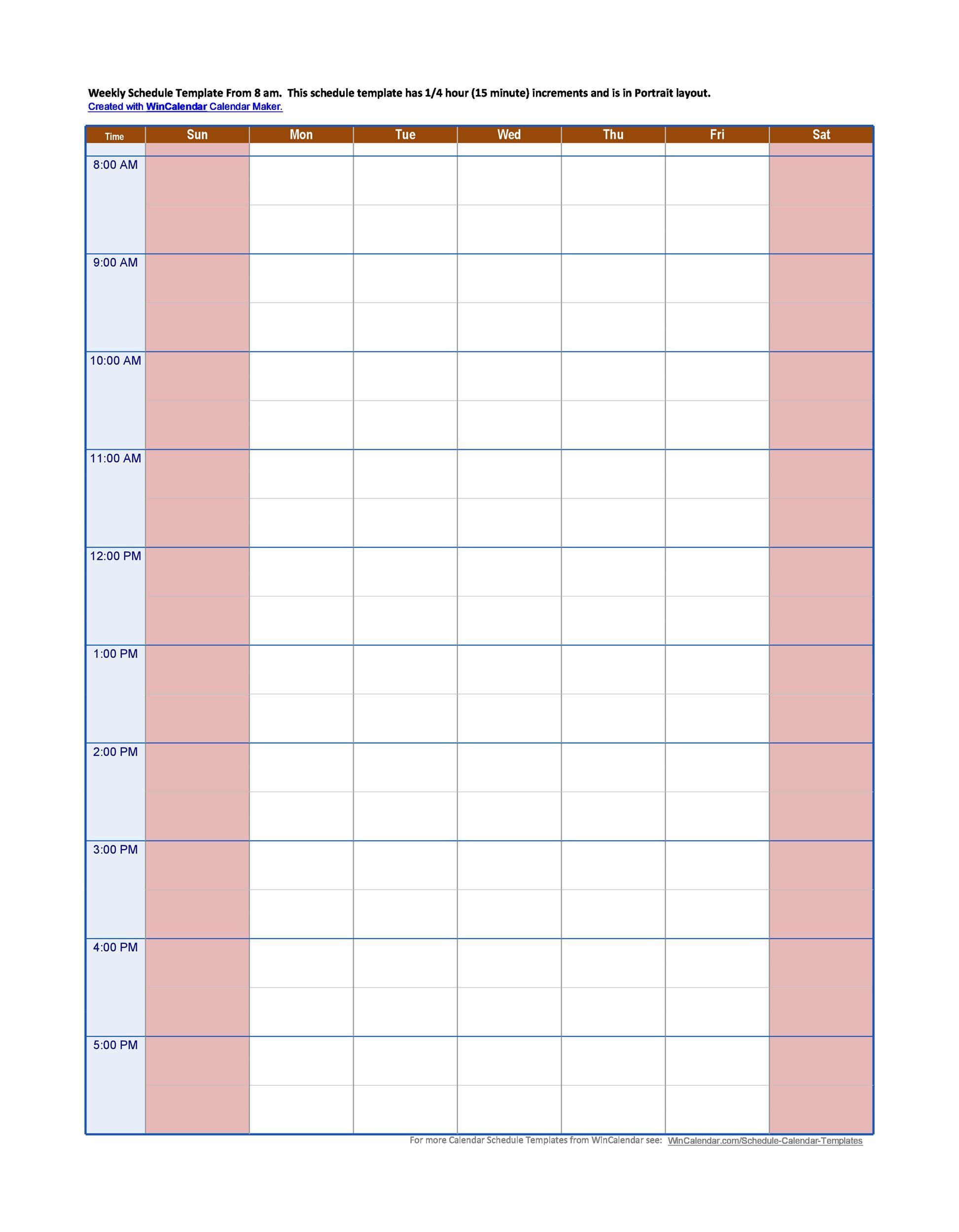 43 effective hourly schedule templates  excel  u0026 ms word   u1405