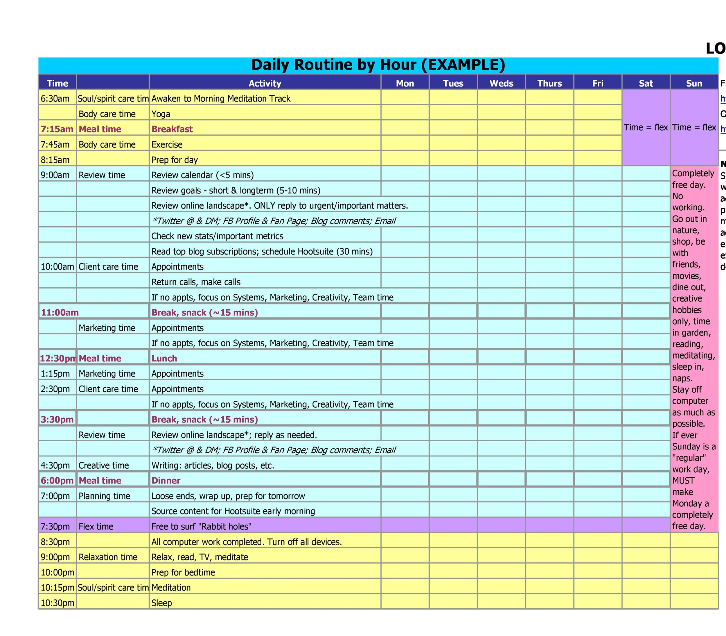Free hourly schedule template 35